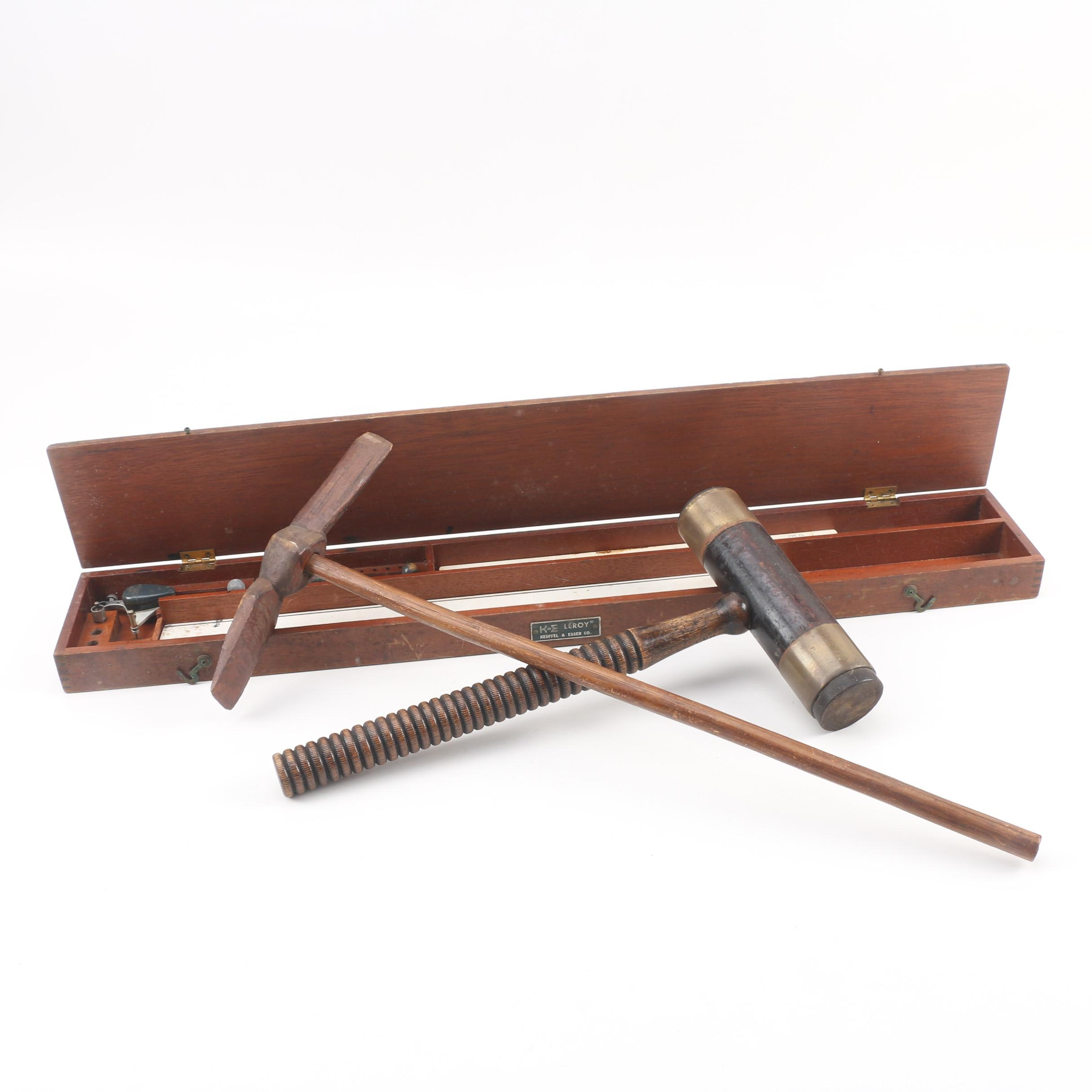 Vintage Keuffel & Esser Leroy Lettering Set, Gavel and Decorative Wood Pickaxe