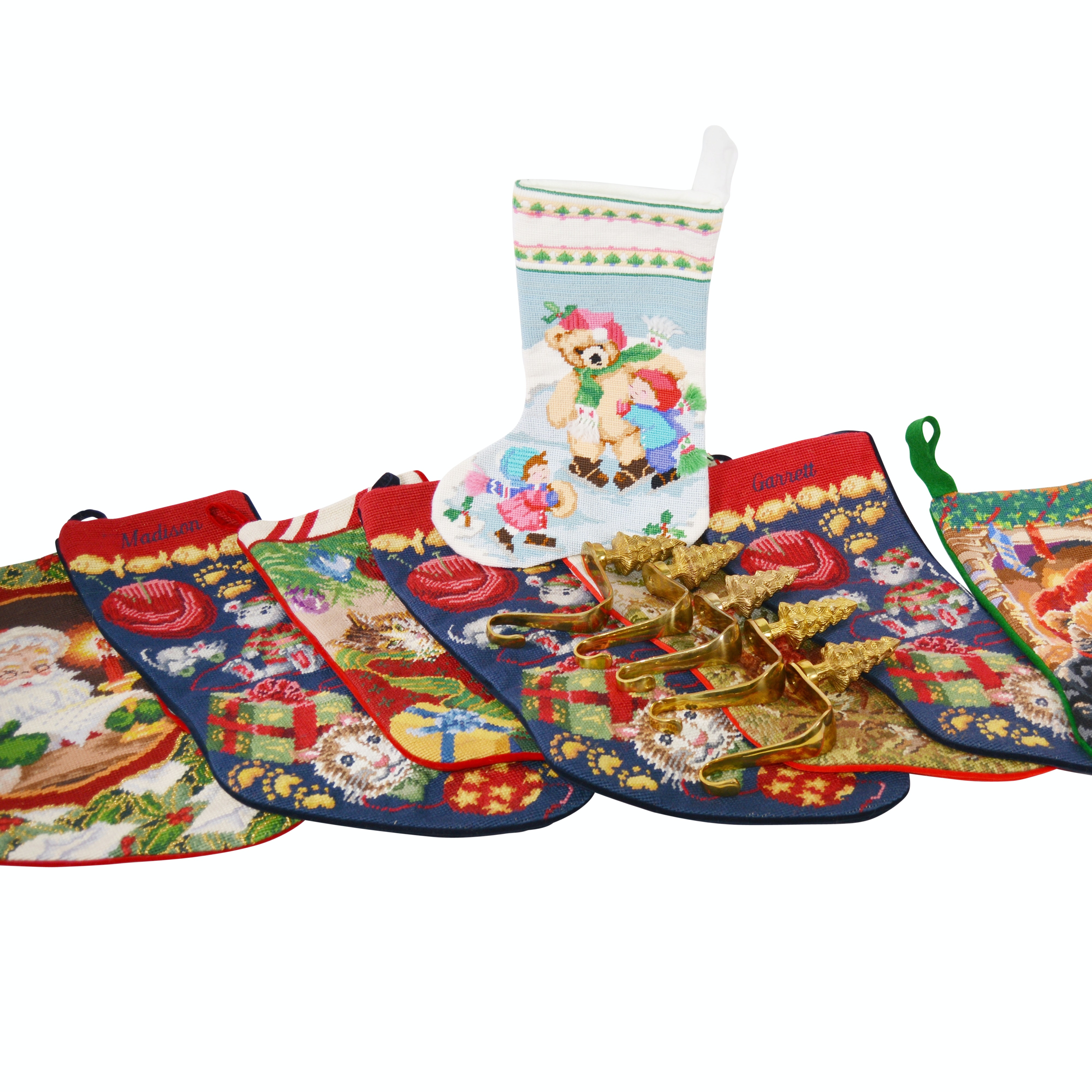 Collection of Needlepoint Christmas Stockings and Hooks