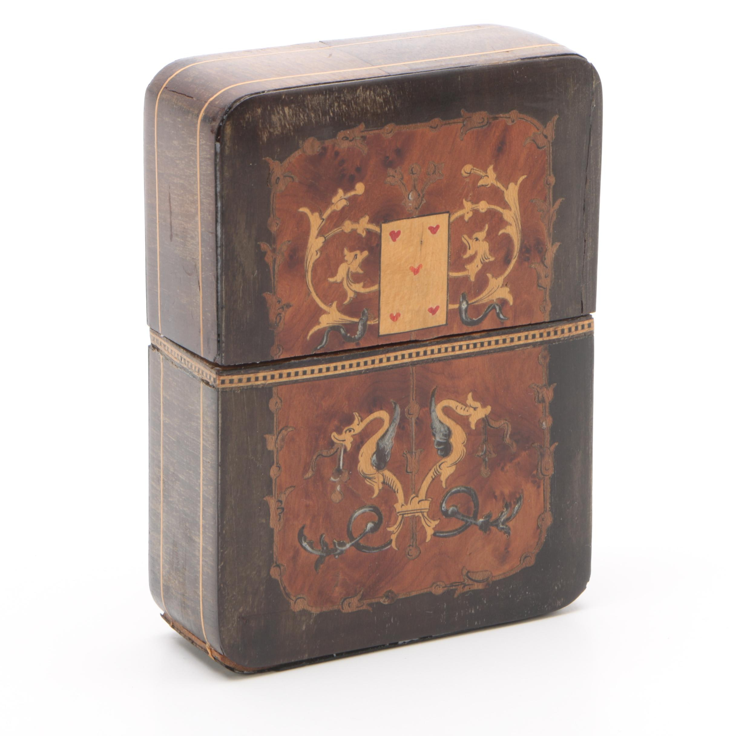 Vintage Inlaid Wood Playing Card Box