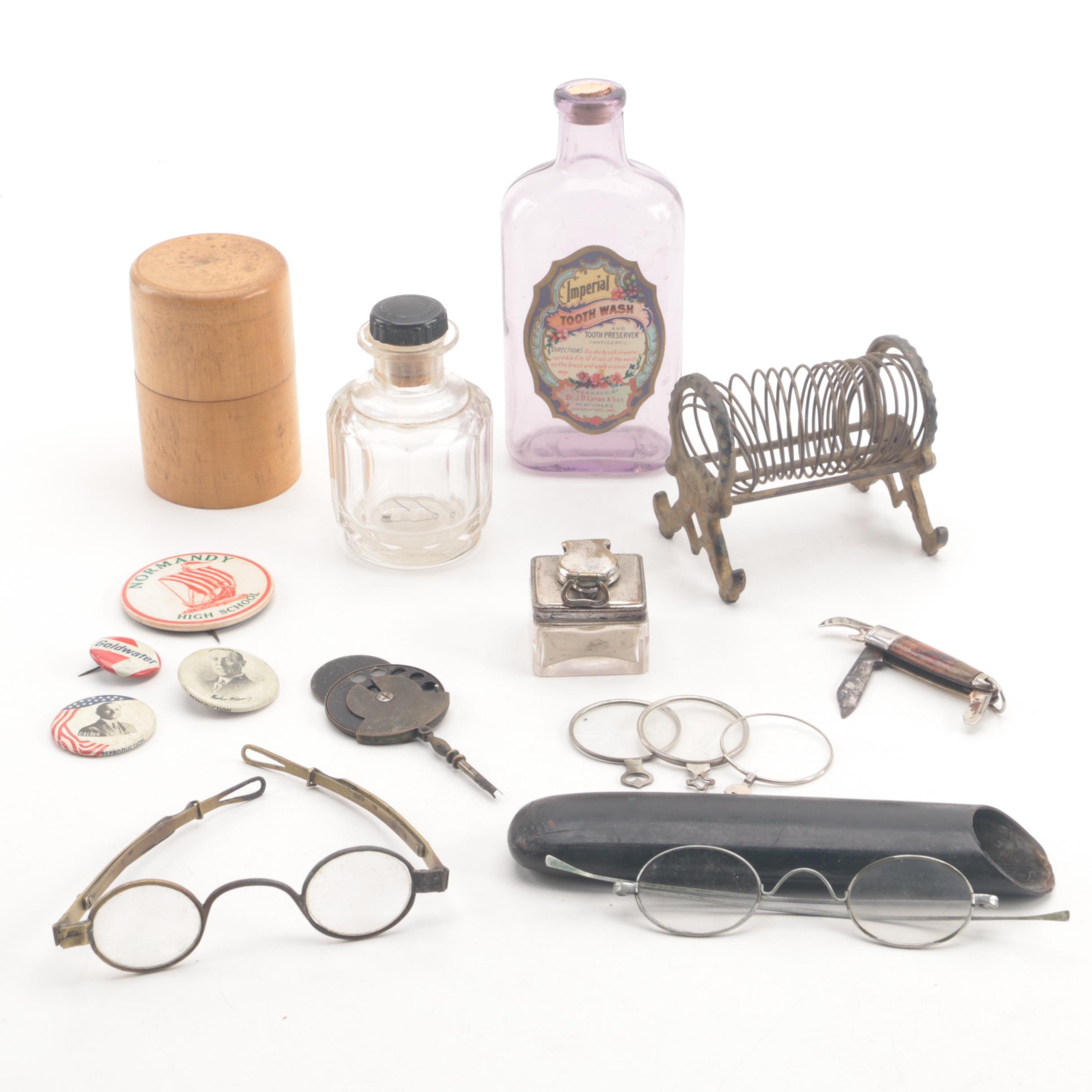 Antique K Diamond Cast Iron Letter Holder and Crank Bridge Metal Spectacles