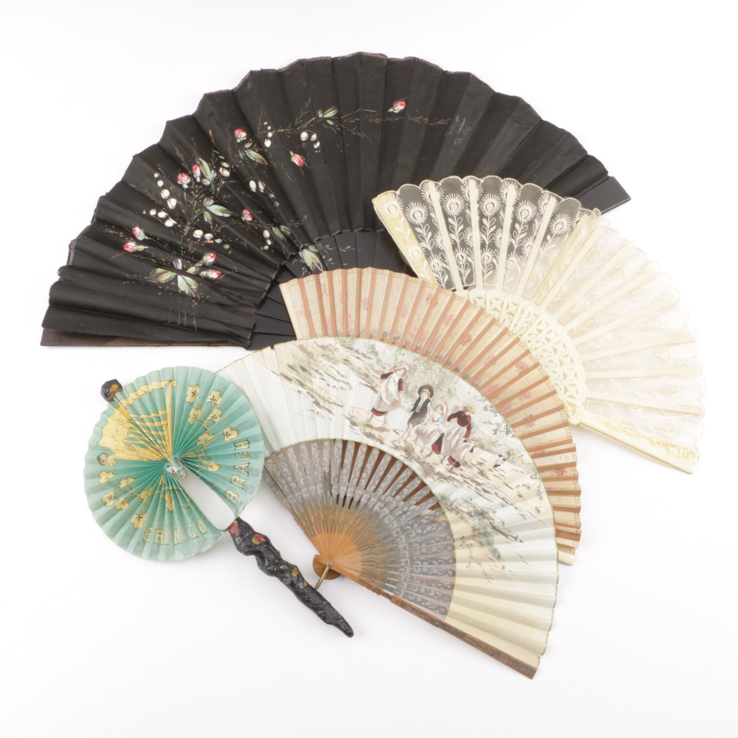 Vintage Hand-Painted, Papier-Mâché and Lace Folding Hand Fans