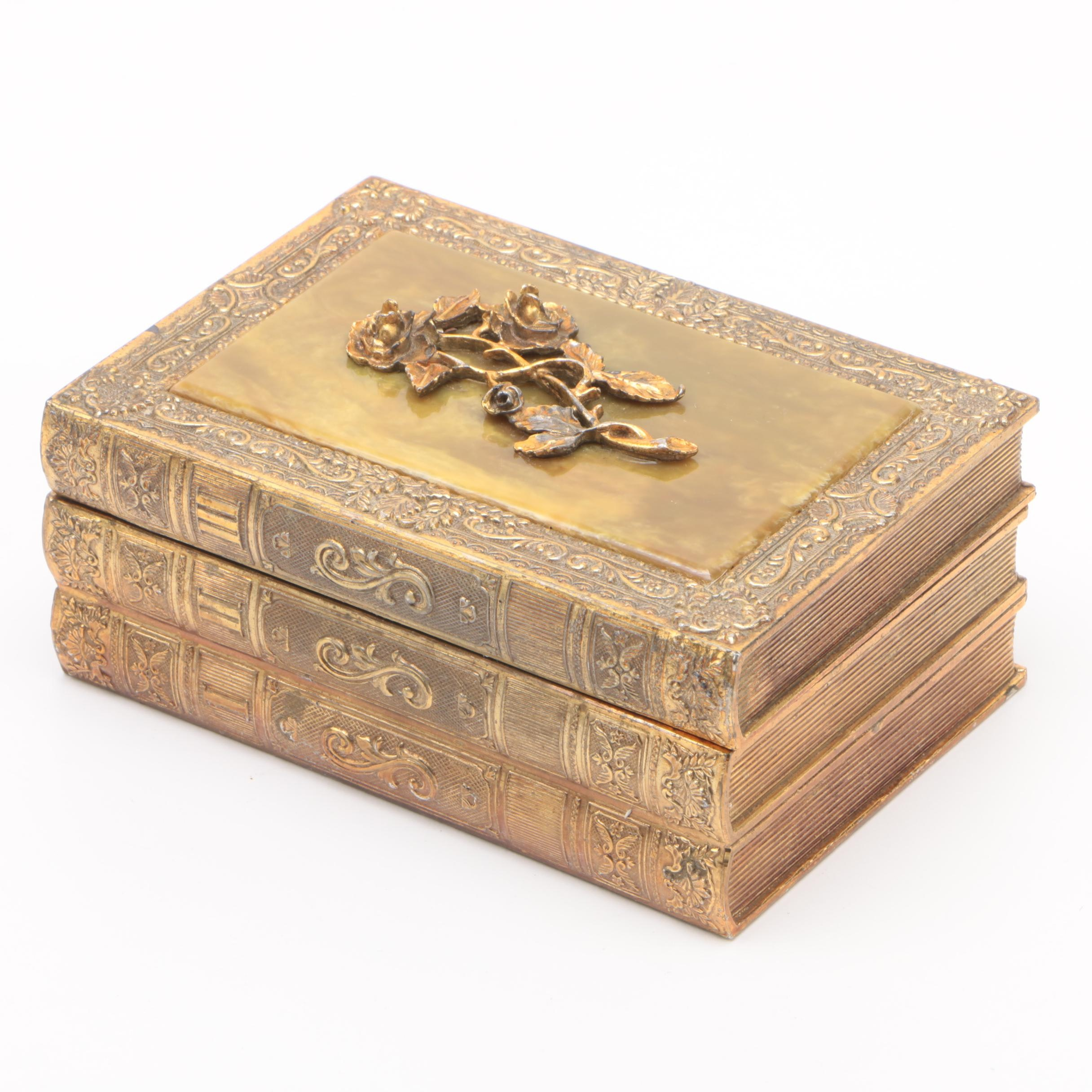 Japanese Gilt Metal Book Stack Box with Resin Inlay Lid, Early 20th Century
