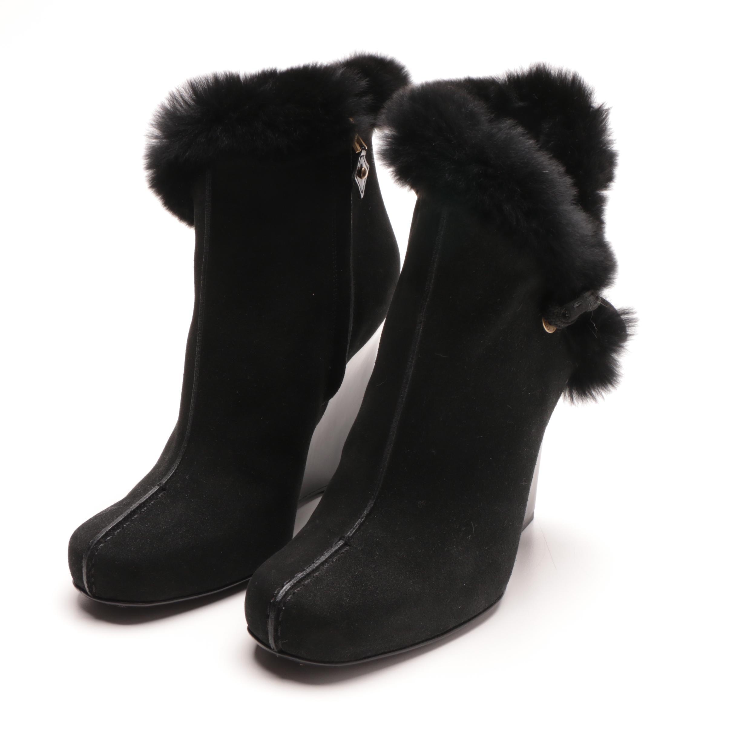 Louis Vuitton Black Suede Fur Trimmed Wedge Booties