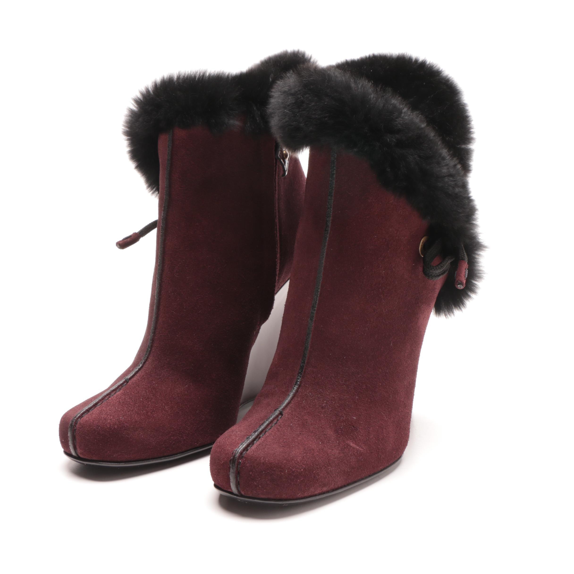 Louis Vuitton Brown Suede Fur Trimmed Wedge Booties