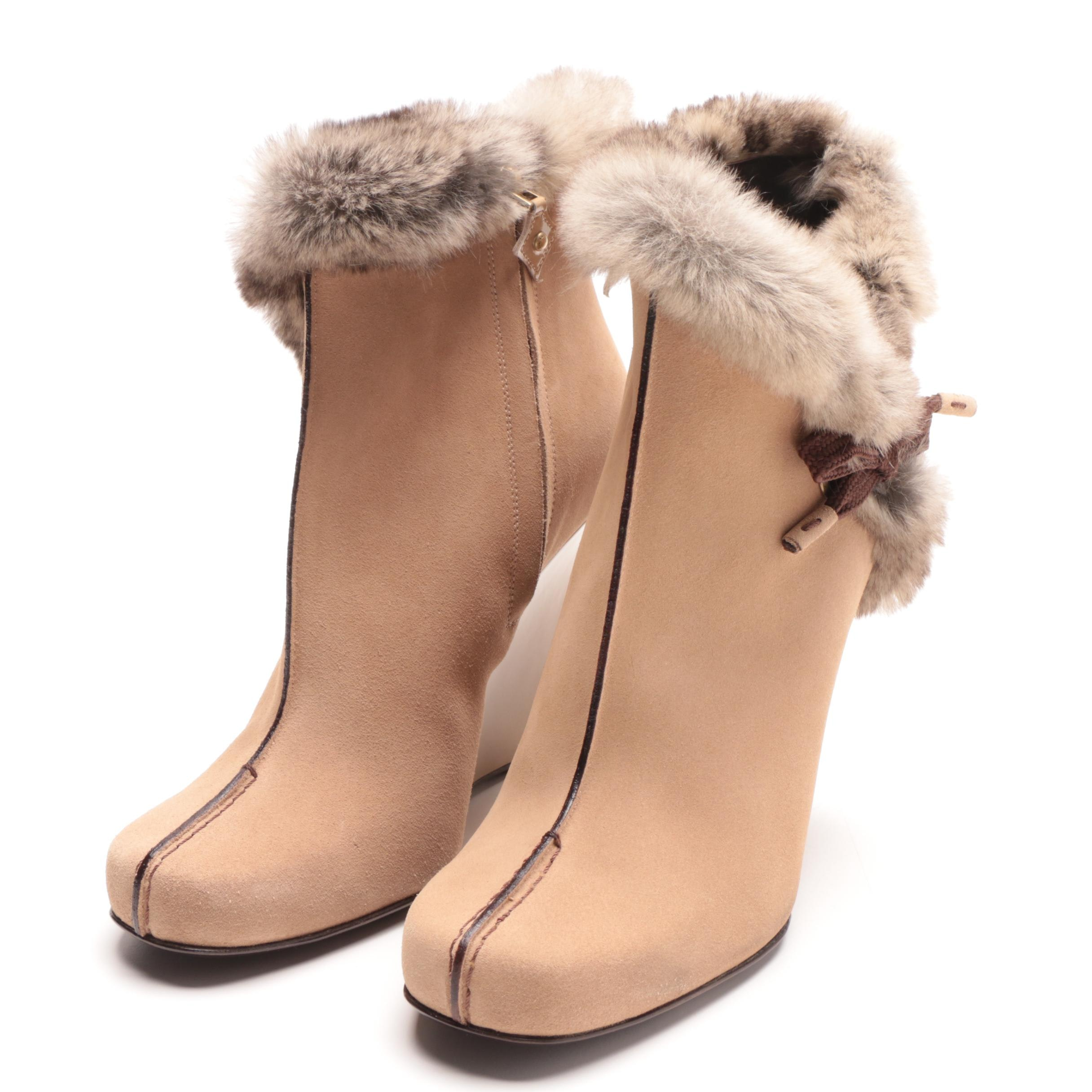 Louis Vuitton Tan Suede Fur Trimmed Wedge Booties