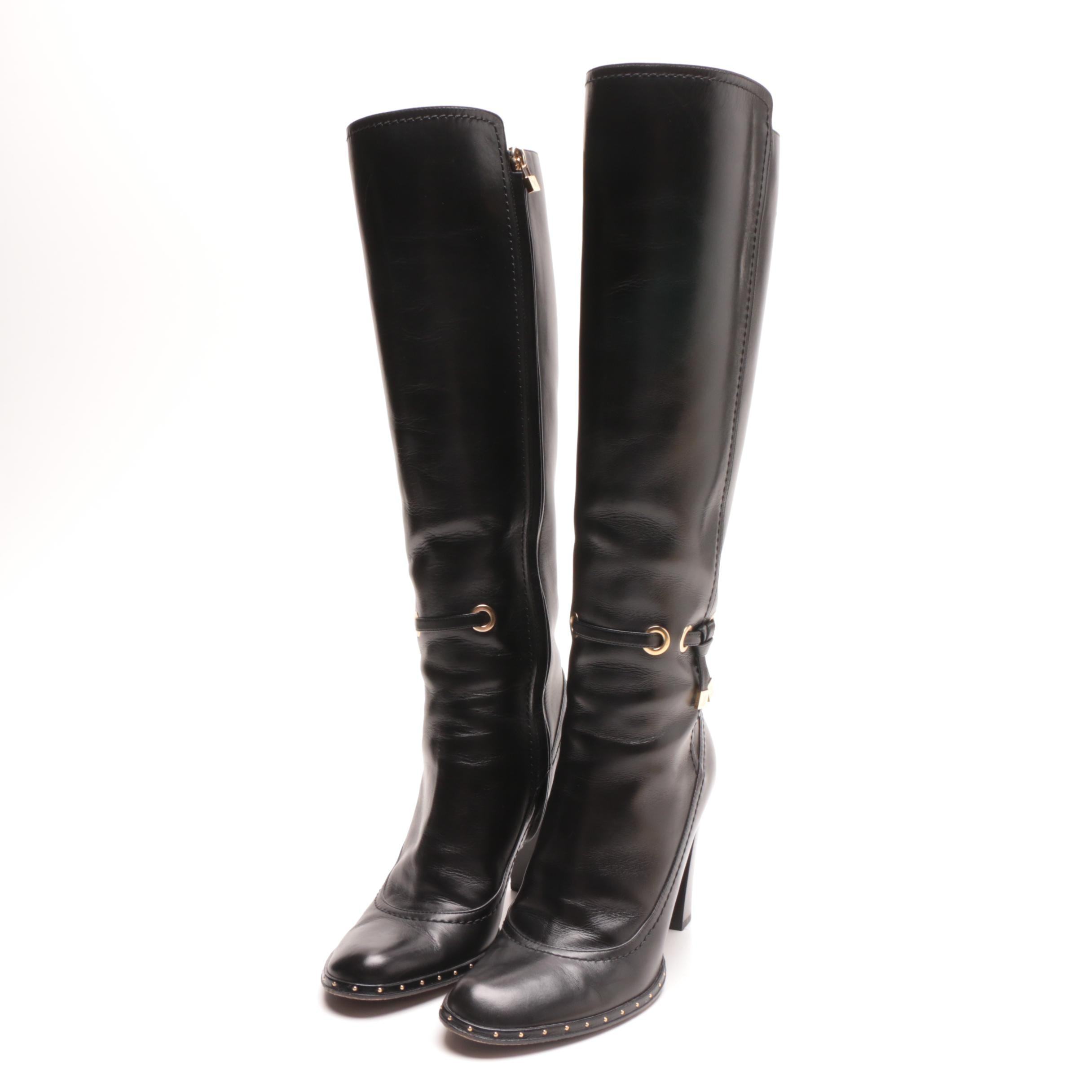 Louis Vuitton of Paris Black Leather Tall Boots