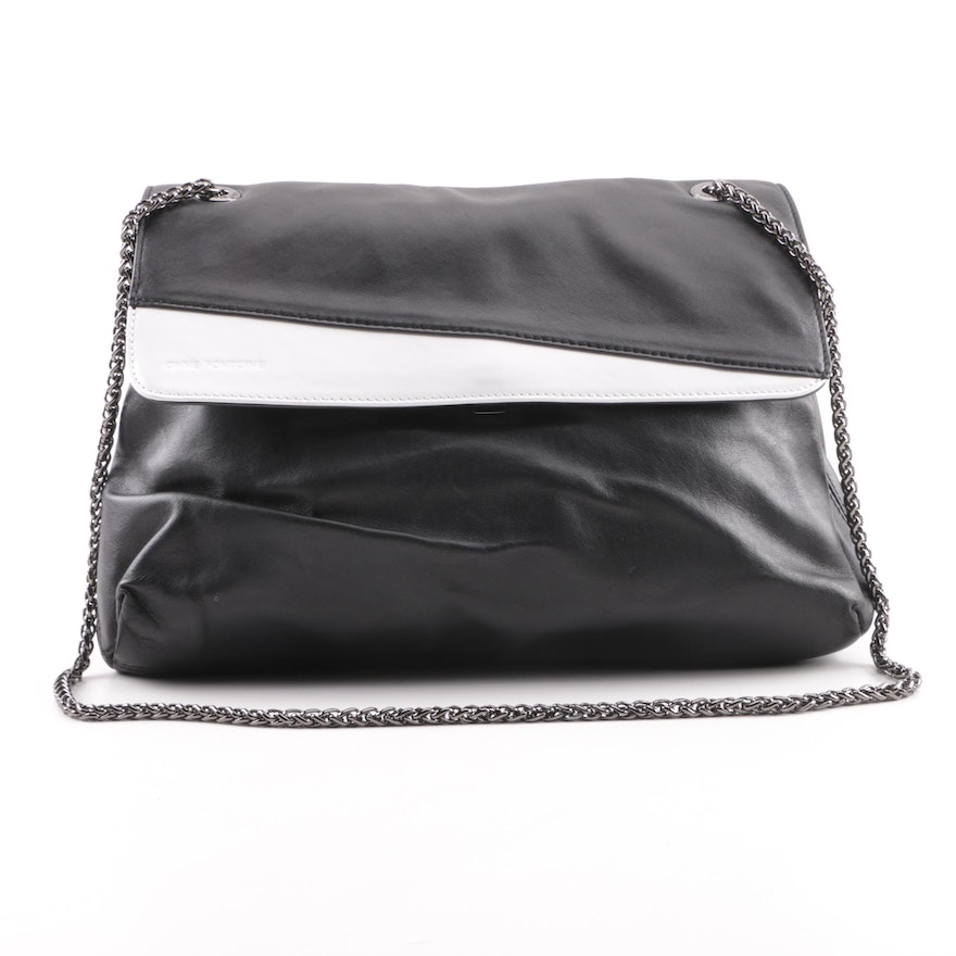 Anne Fontaine Black And White Leather Shoulder Bag