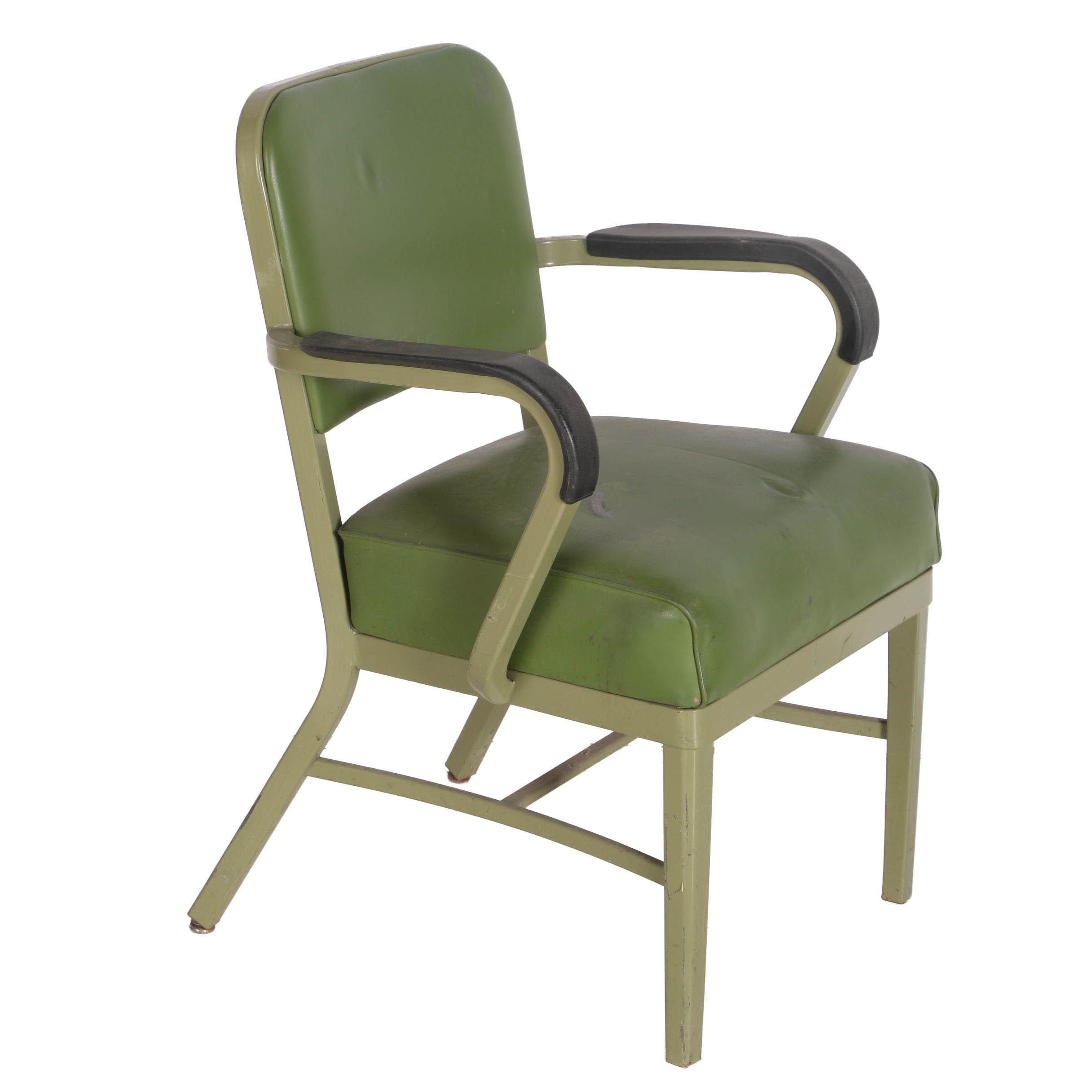 Vintage Green Vinyl and Metal Chair