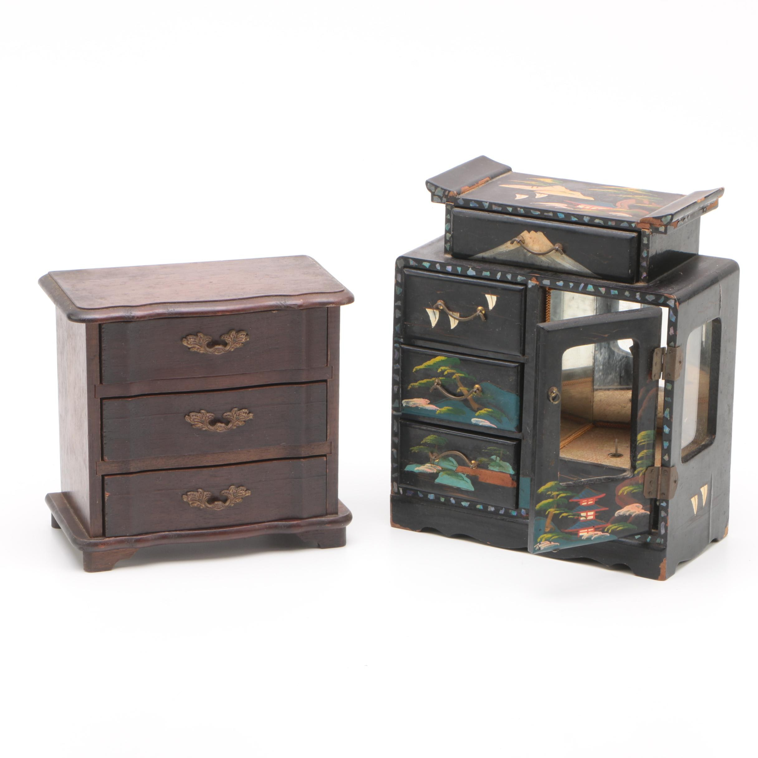 Japanese Black Lacquer Musical Jewelry Box with Vintage Wooden Jewelry Box