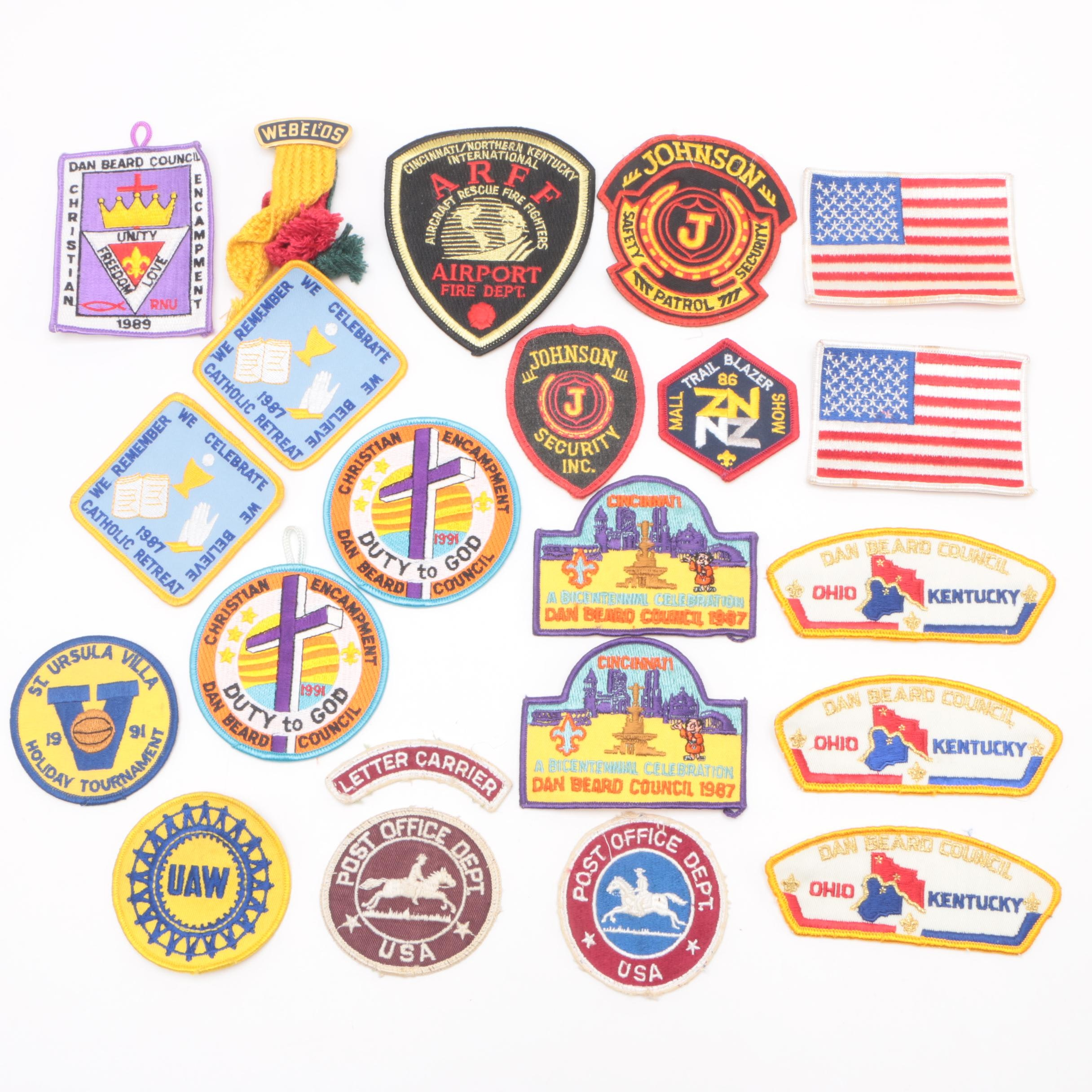 Vintage Patches including Dan Beard Council, UAW and USPS