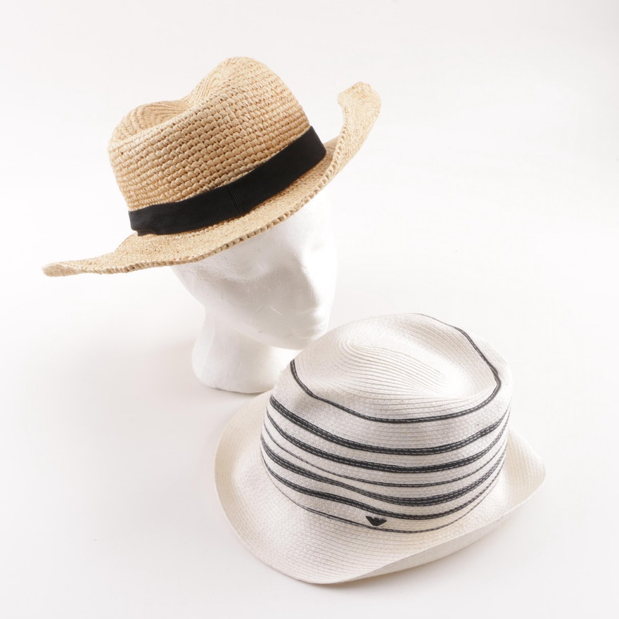 fdb2c3ba619e9 Emporio Armani and J. Crew Woven Straw and Cellophane Summer Hats   EBTH
