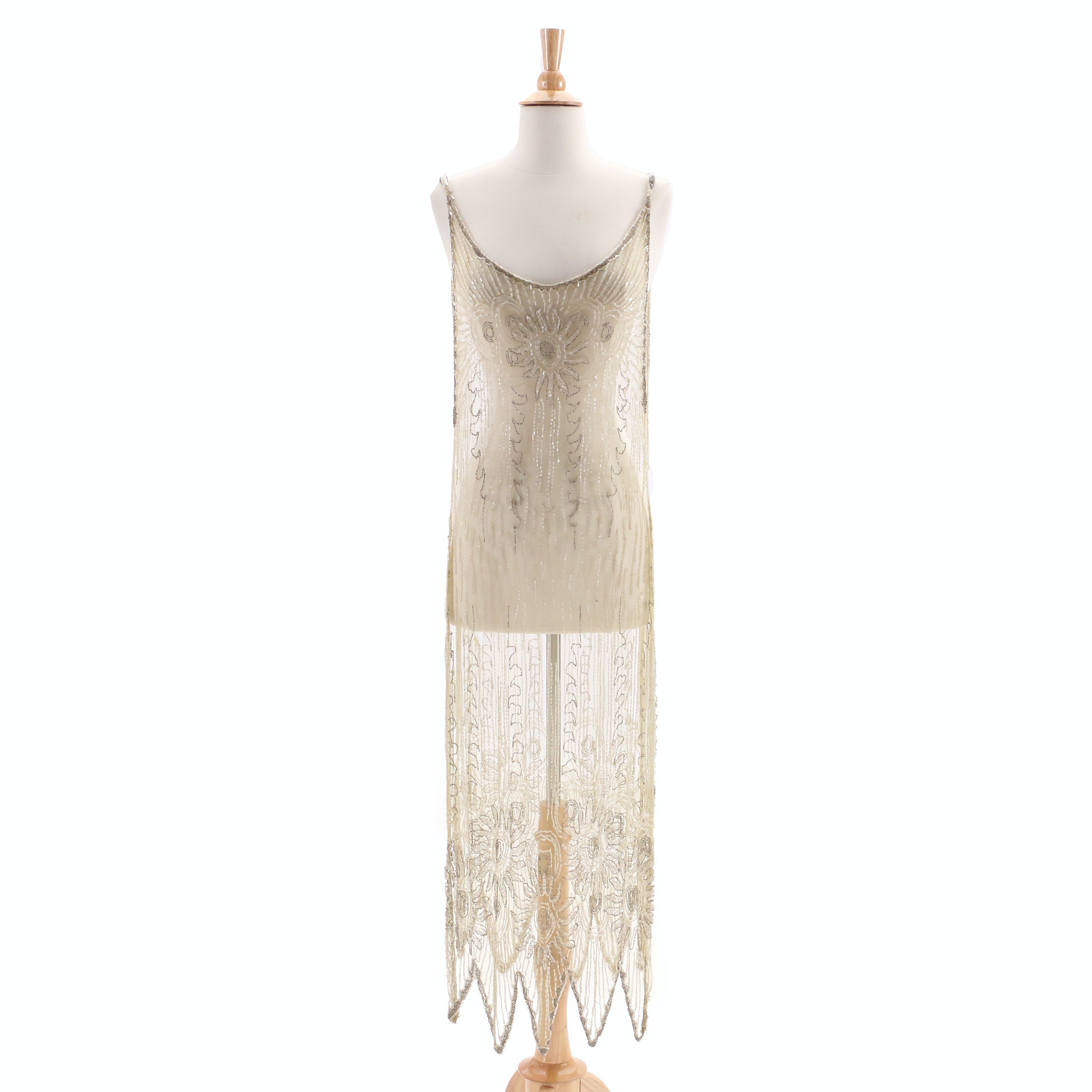 1920s Vintage Sheer Beaded Tabard Over Dress