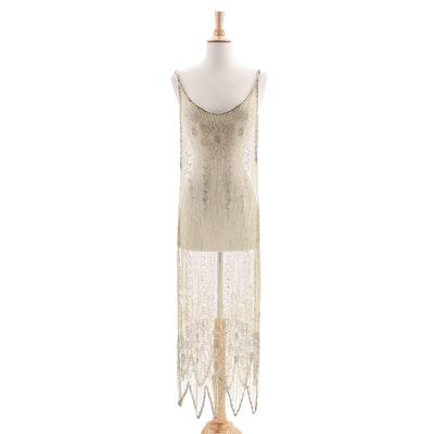 1920s Vintage Sheer Beaded Tabard Over Dress