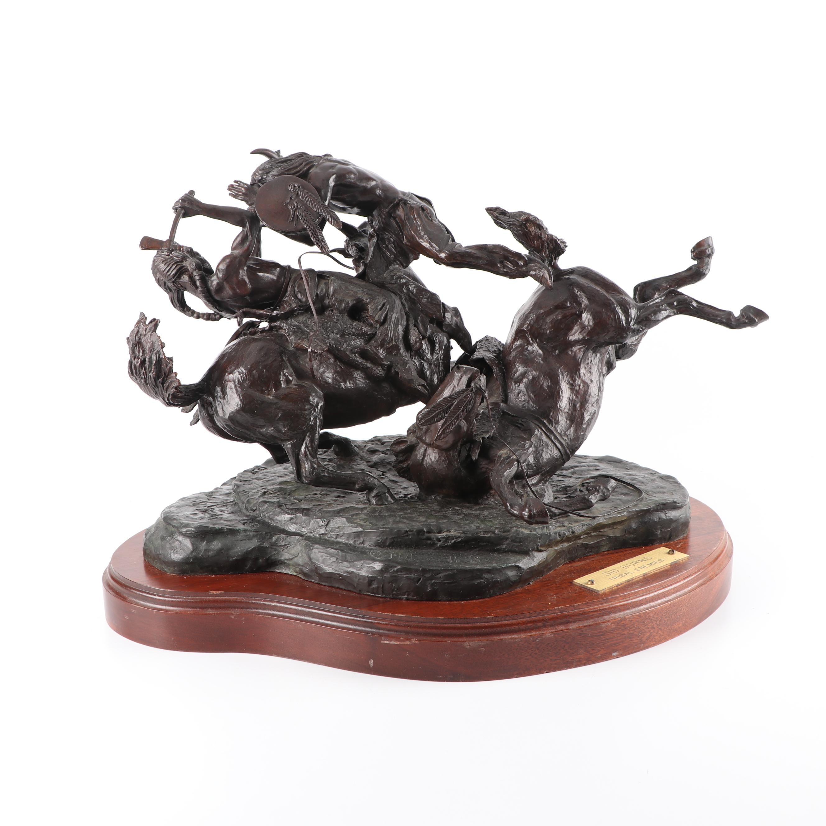 "Sid Burns Bronze Sculpture ""Tribal Enemies"""
