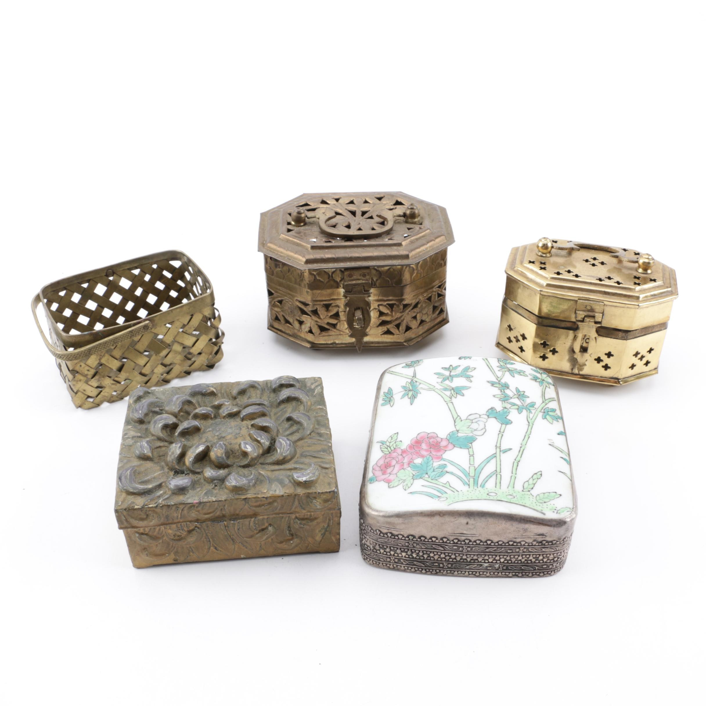 Metal and Wood Trinket Boxes with Chinoiserie Shard Mounted Silver Plated Box