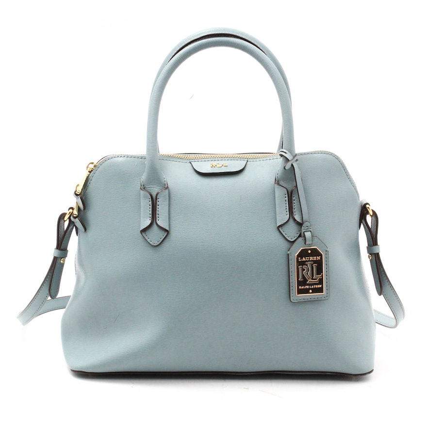 f54ff4c4350c Lauren by Ralph Lauren Tate Light Blue Leather Domed Satchel   EBTH