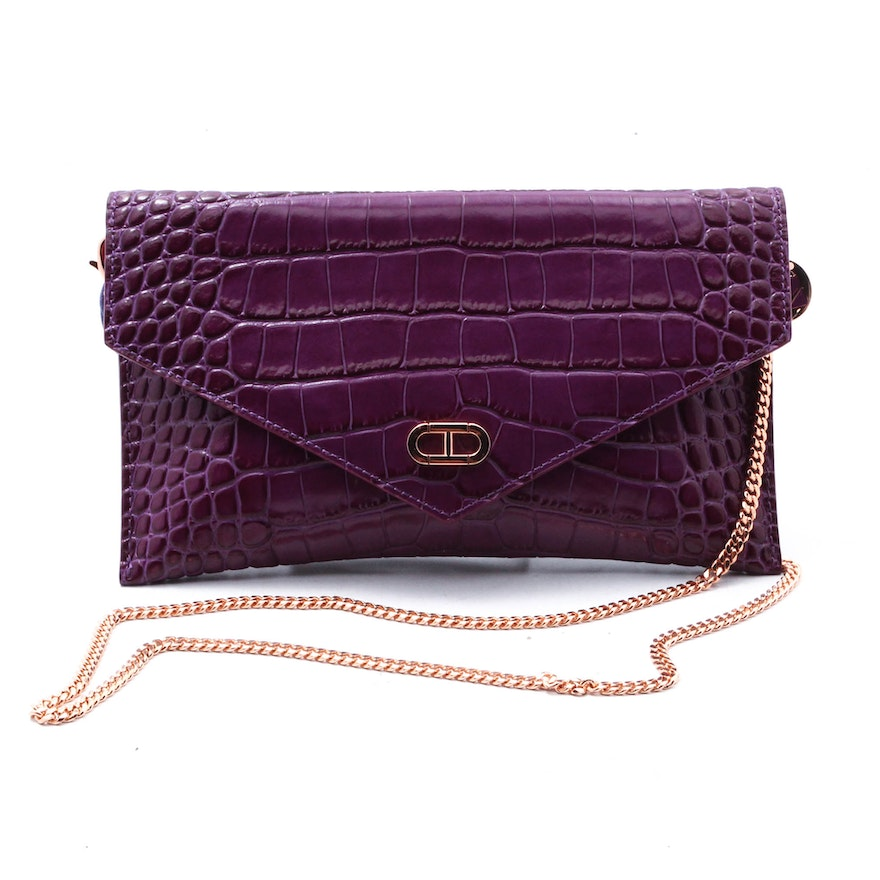 Kerry Washington For Dee Ocleppo Envelope Clutch Purse In Plum Embossed Leather