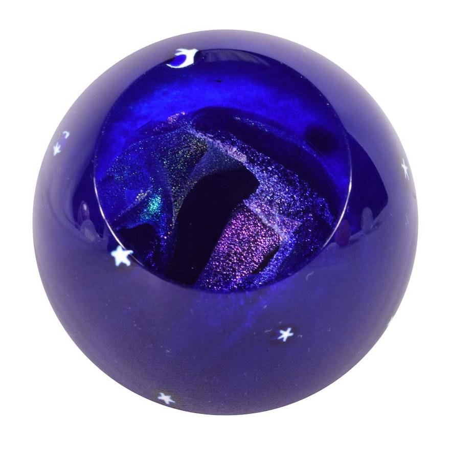 glass eye studio pluto celestial series art glass paperweight - Glass Eye Studio