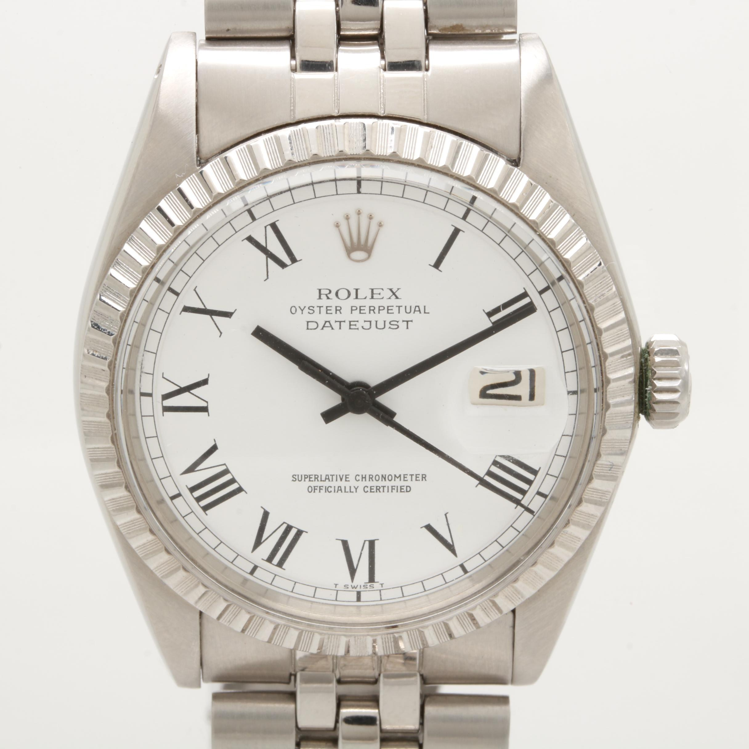 Circa 1975 Rolex Datejust Stainless Steel Wristwatch with Buckley Dial