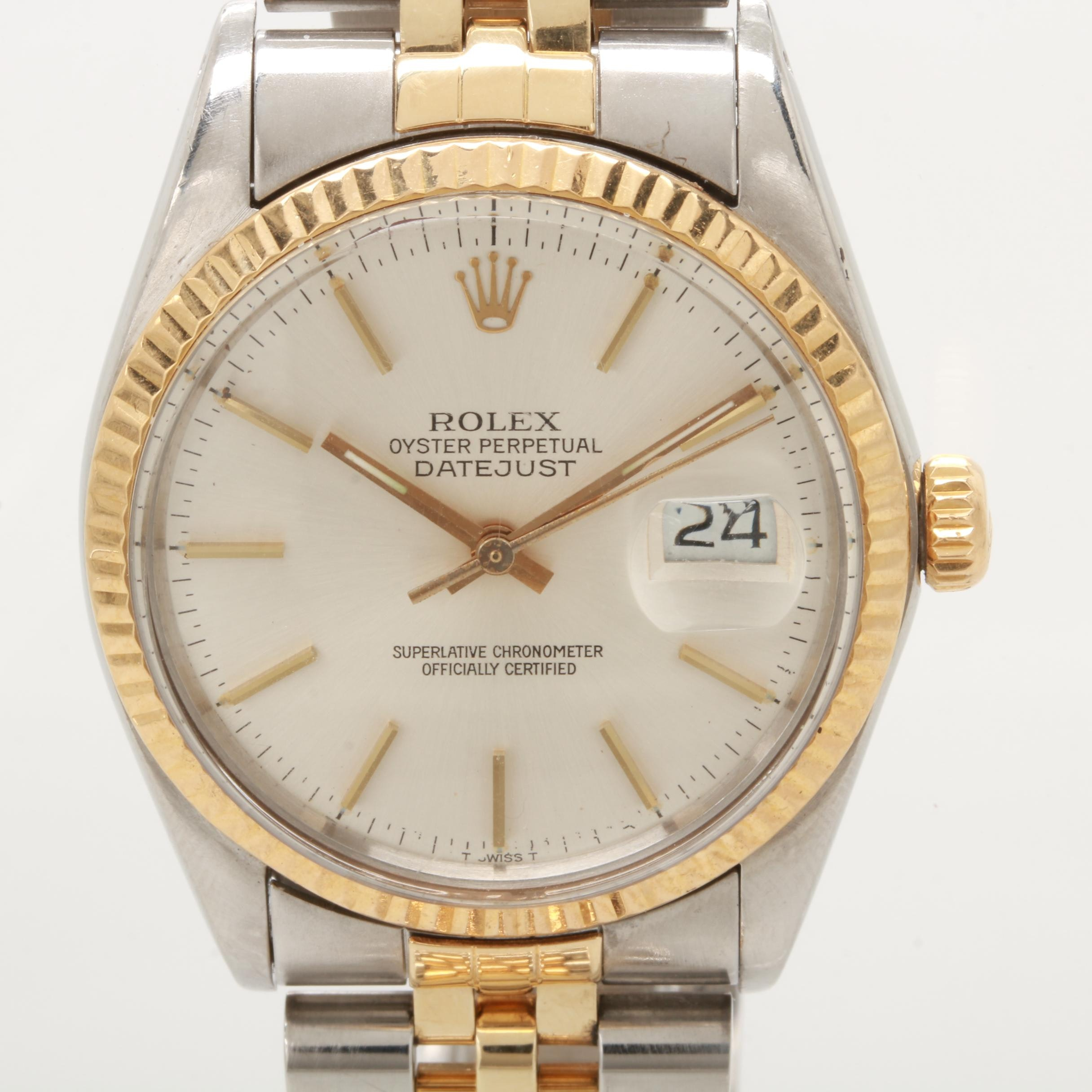 Vintage Rolex 18K Yellow Gold and Stainless Steel Wristwatch