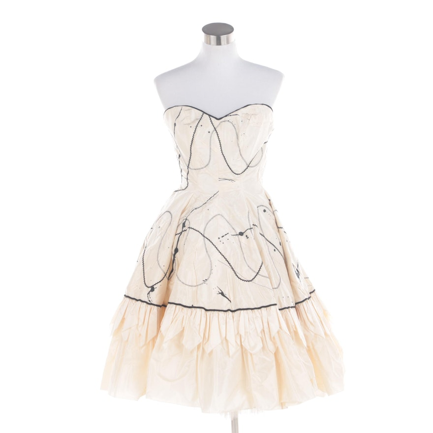 09ea867744 1980s Fabrice New York Ivory and Black Silk Bustier Cocktail Dress ...