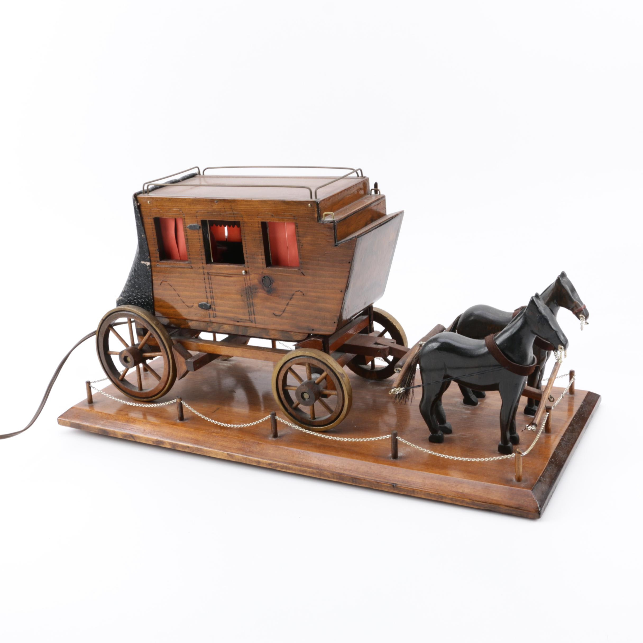Vintage Handmade Wooden Miniature Horse-Drawn Stagecoach Novelty Accent Lamp