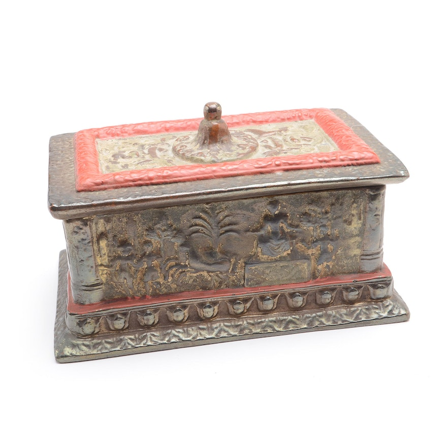 Vintage Egyptian Decorative Metal Document Box EBTH Simple Decorative Metal Boxes With Lids