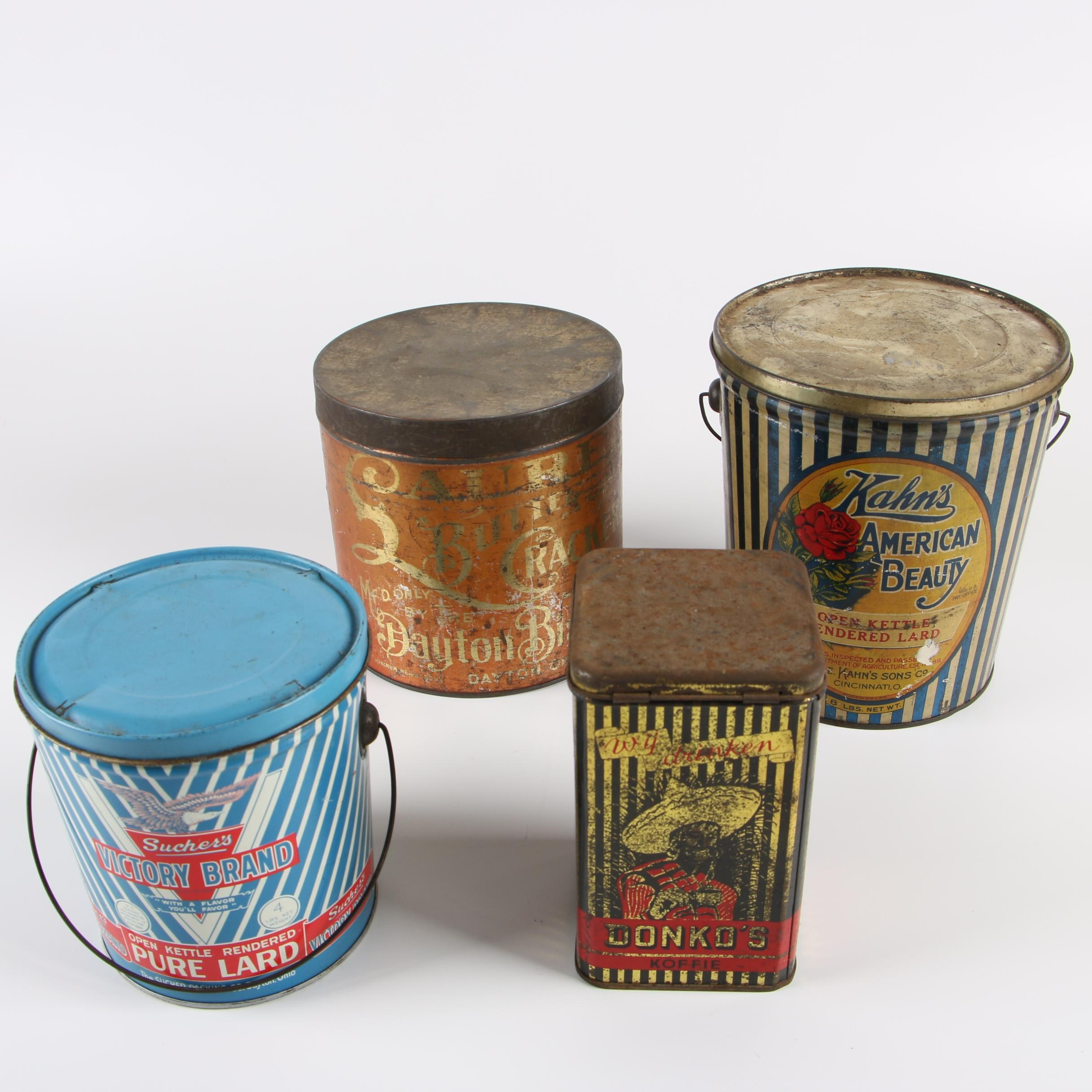 Vintage Metal Tins including Kahn's