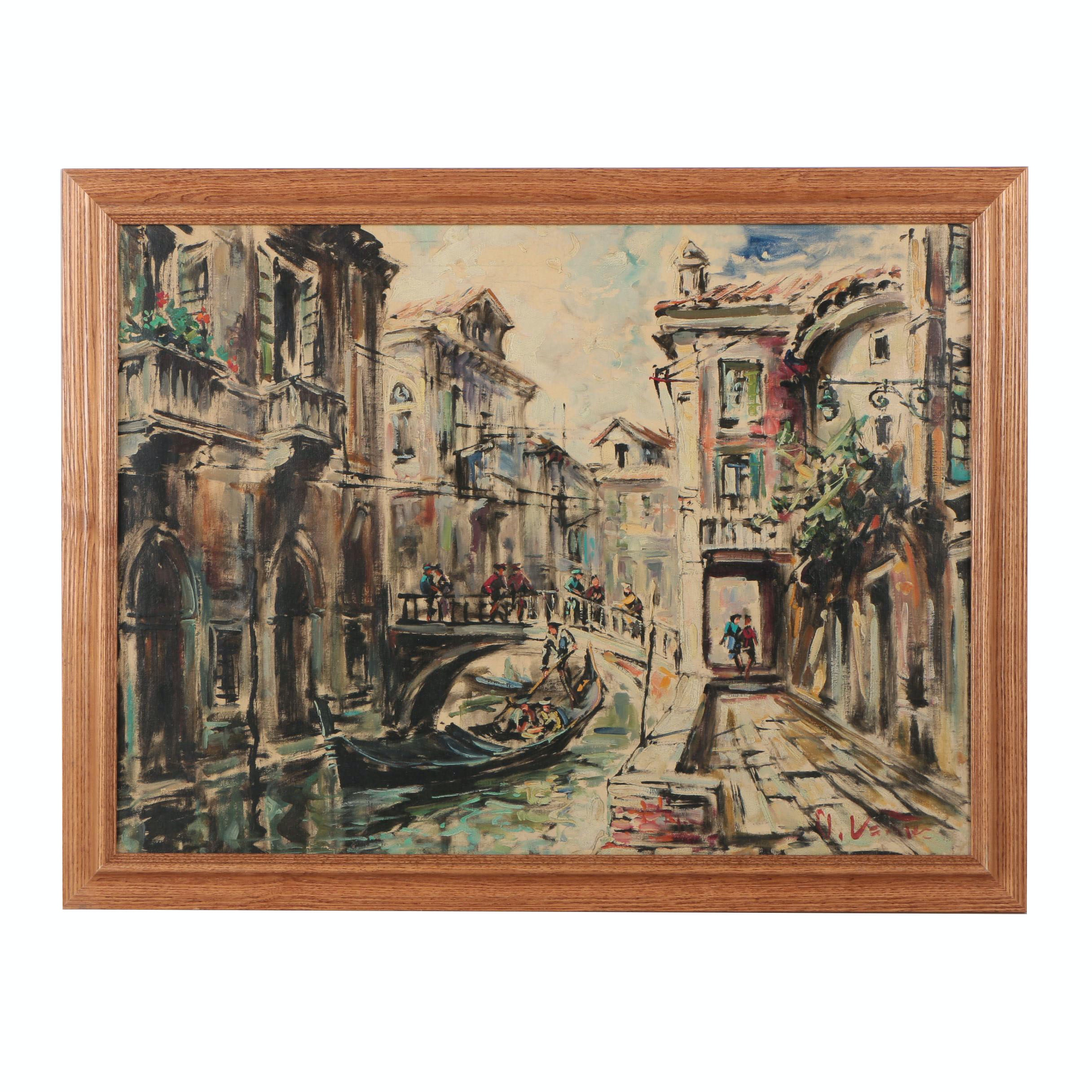 Vintage Oil Painting Attributed to D. Venice