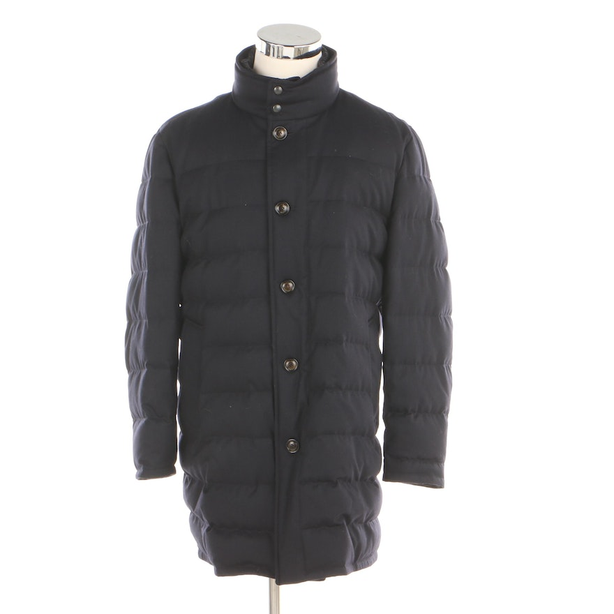 8936b0161 Men's Moncler Vallier Navy Down Coat with Detachable Lining