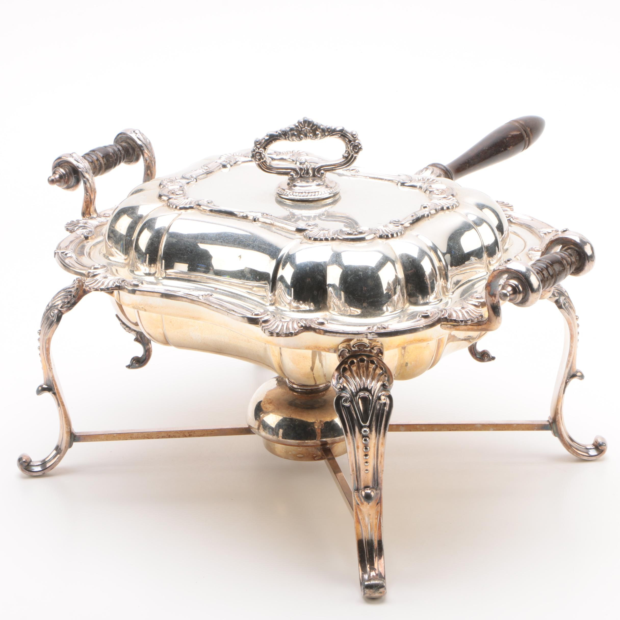 Birmingham Silver Co. Silver Plate Chafing Dish with Warming Stand
