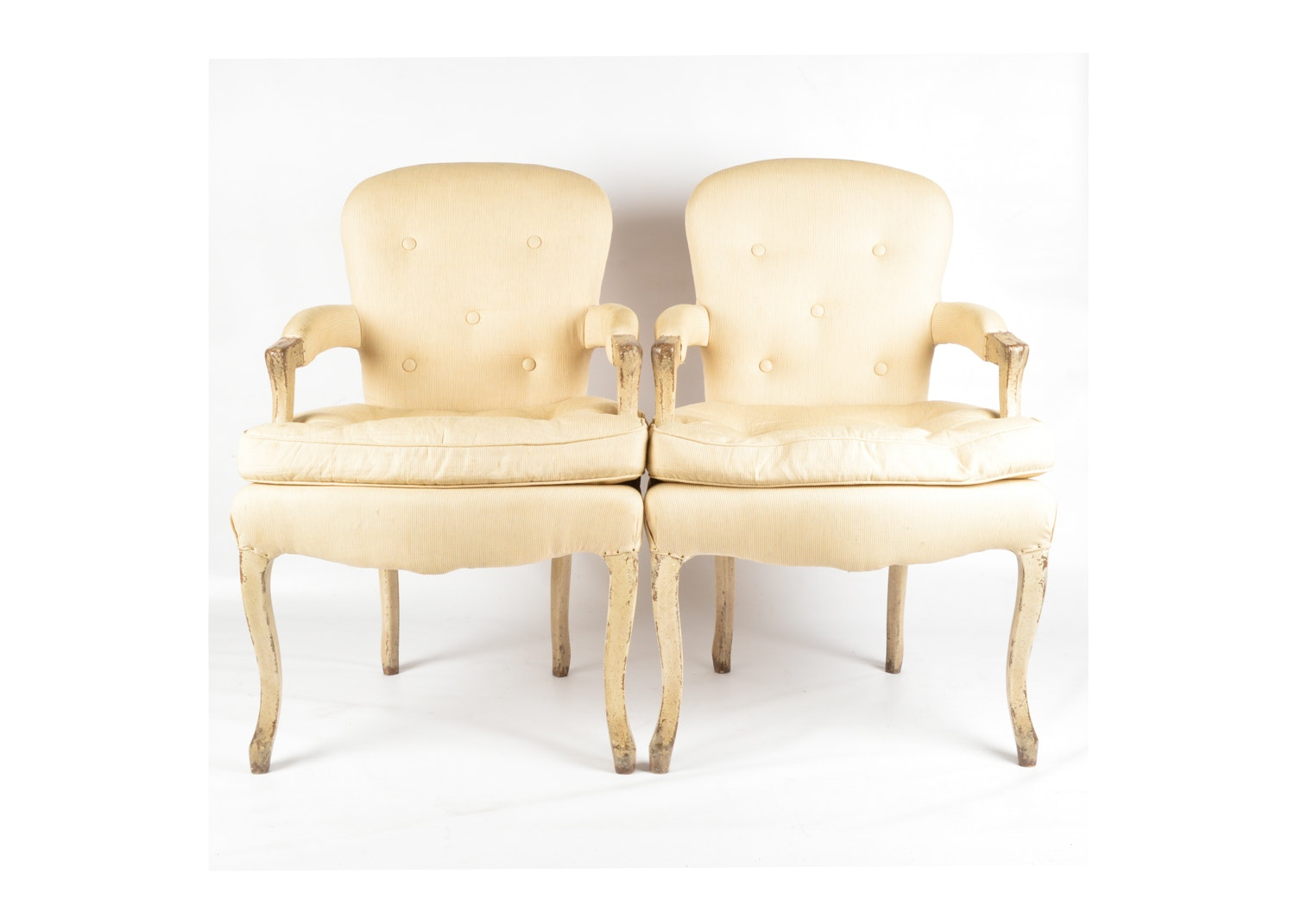 French Provincial Style Upholstered Armchairs, Late 20th Century