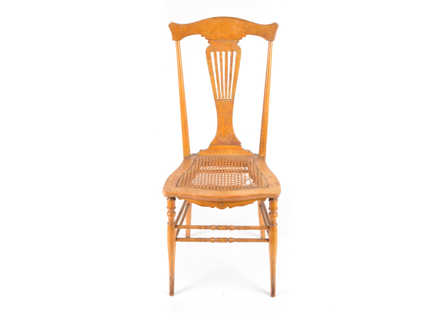 Pierced Splat Maple Side Chair, 20th Century