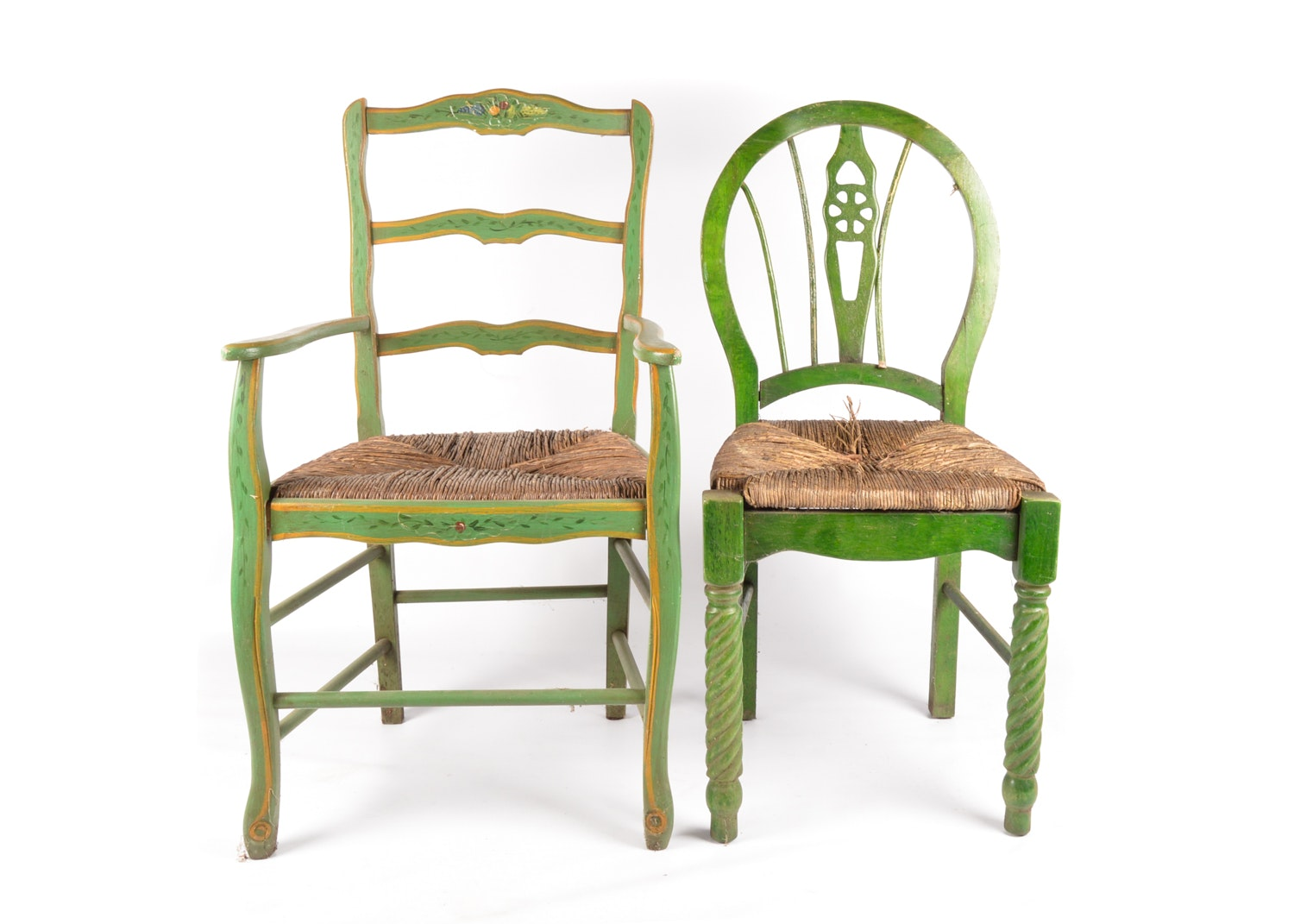 Painted Wooden Ladder Back and Wheelback Rush Seat Chairs, 20th Century