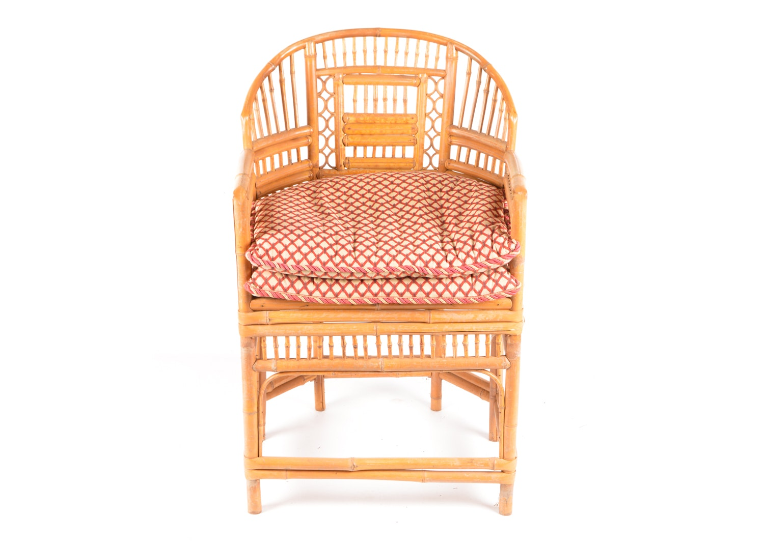 Rattan Armchair with Seat Cushion, Late 20th Century