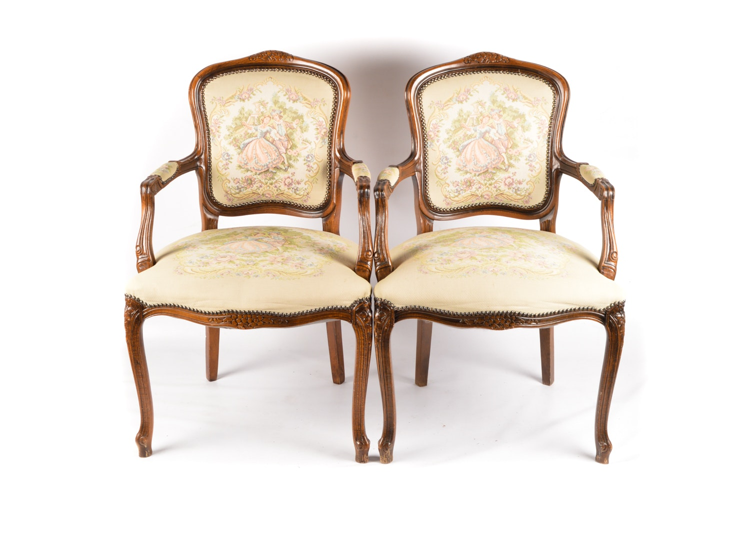 French Provincial Style Carved Walnut Frame Upholstered Armchairs, Late 20th C.