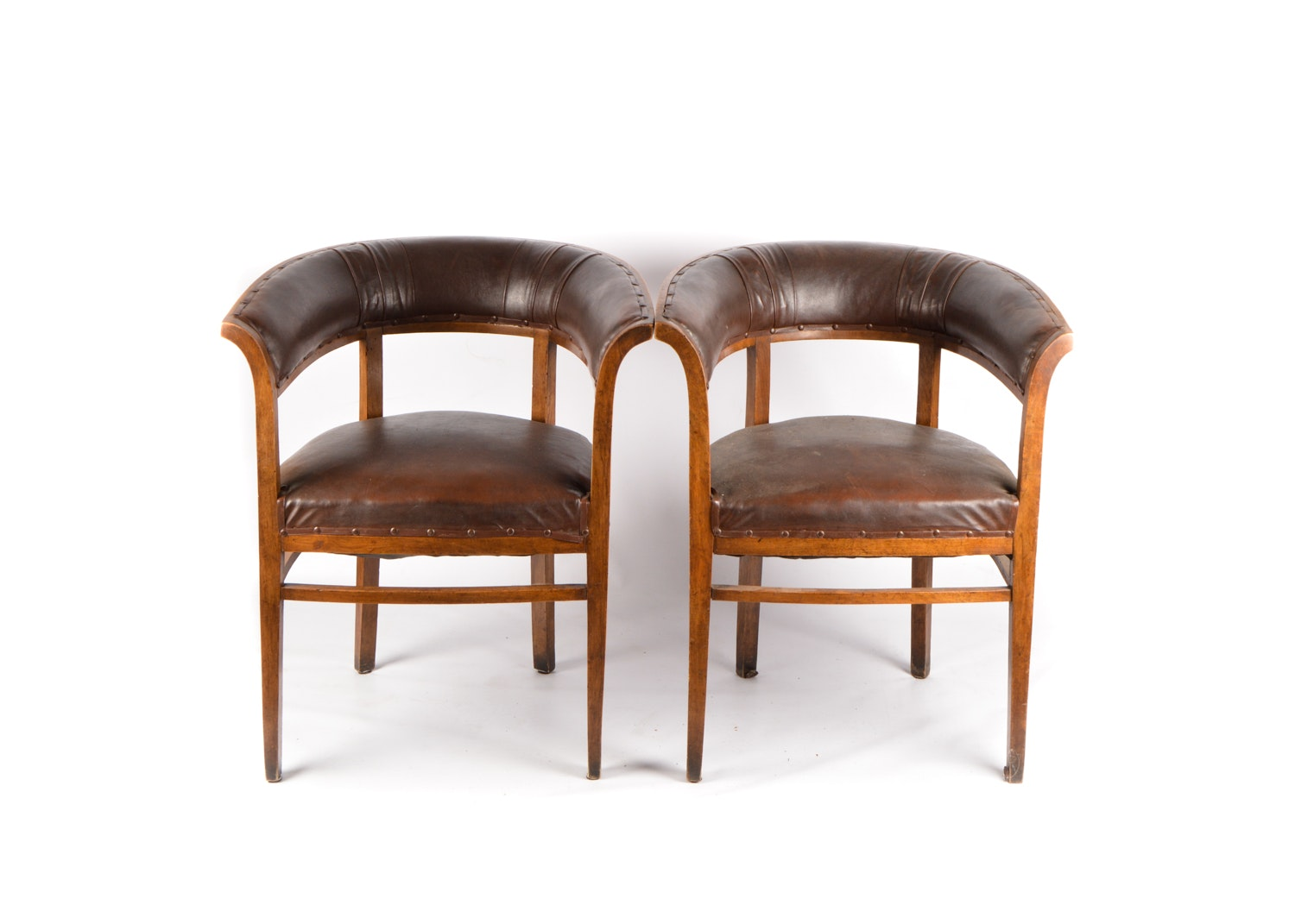Leather and Wood Curved Back Club Chair Pair, 20th Century