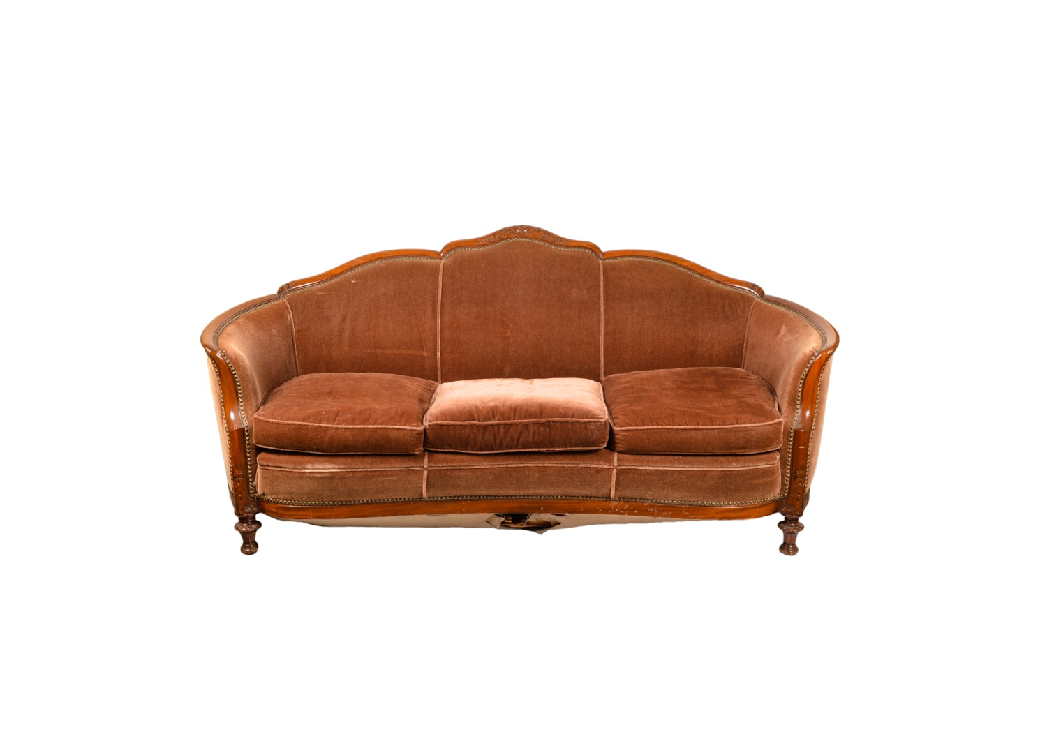 Victorian Style Mohair Upholstered Cabriole Sofa, 20th Century