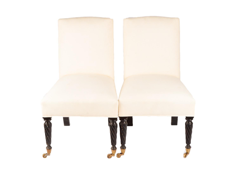 Muslin Upholstered Slipper Chairs, 21st Century