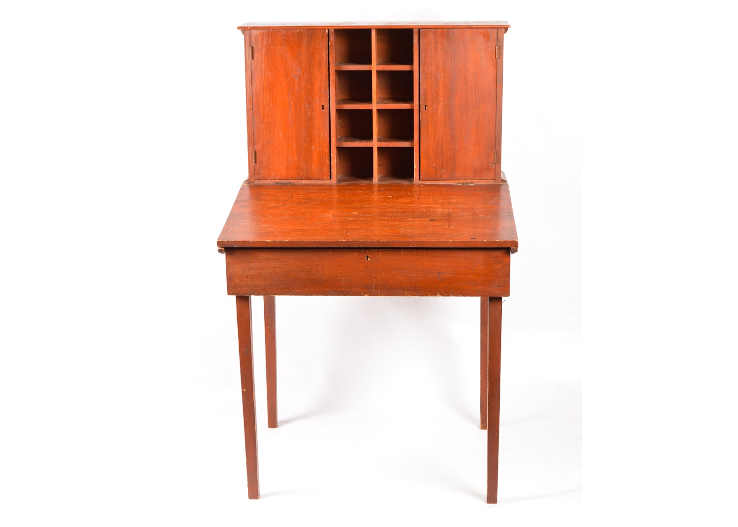 Rustic Pine Slant Top Writing Desk with Cabinet, 19th Century