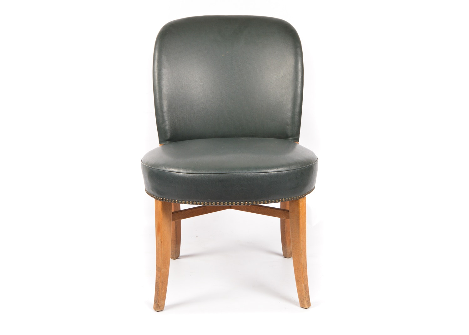 Vinyl Upholstered Curved Back Side Chair, Mid-20th Century