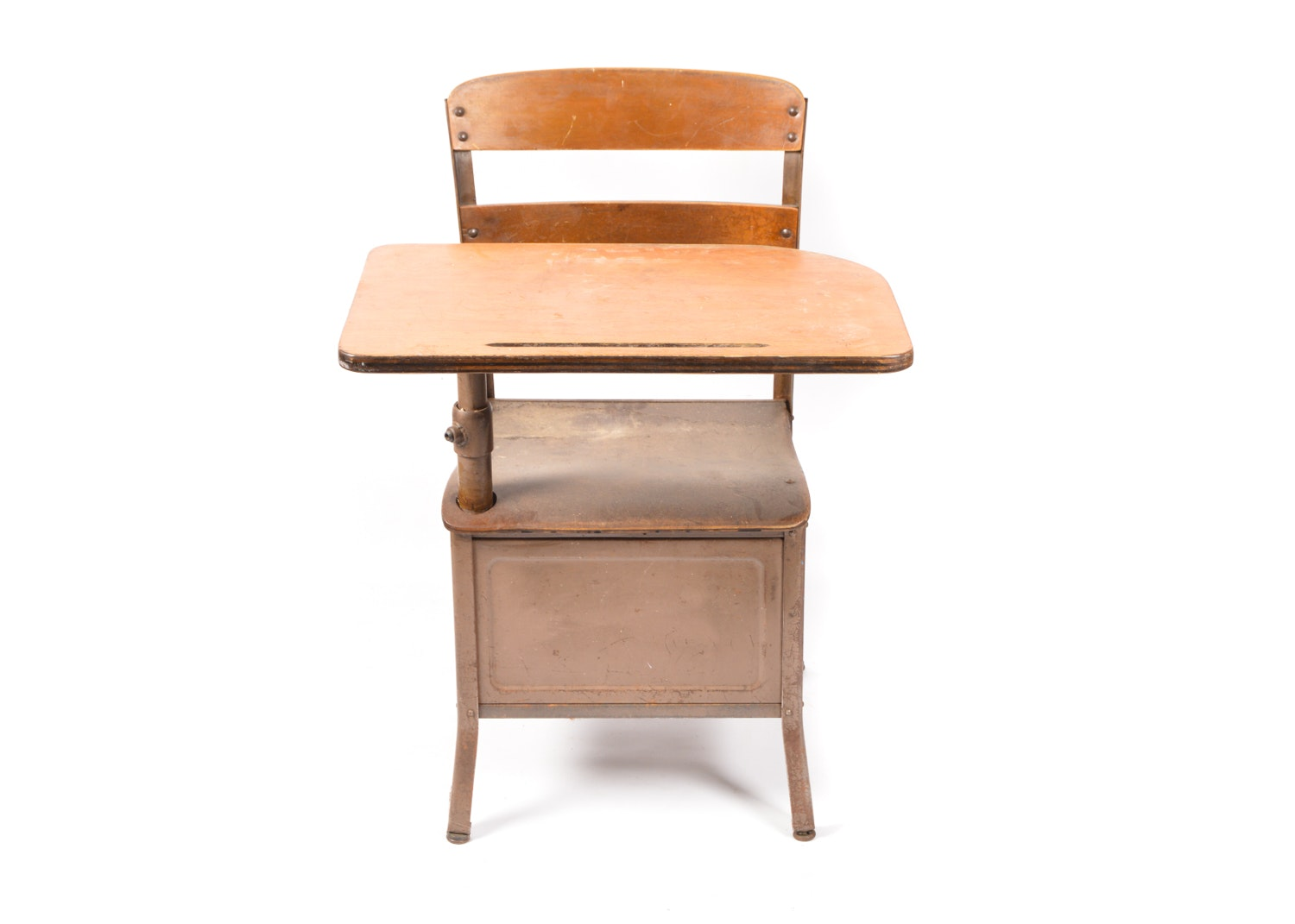 Bent Plywood and Steel Schoolhouse Desk by Irwin, Circa 1940s