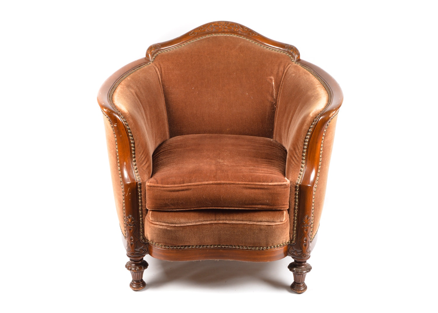 Victorian Style Mohair Upholstered Cabriole Armchair, 20th Century