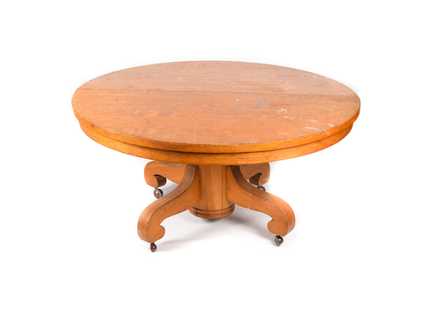American Empire Style Oak Pedestal Dining Table on Casters, Early 20th Century