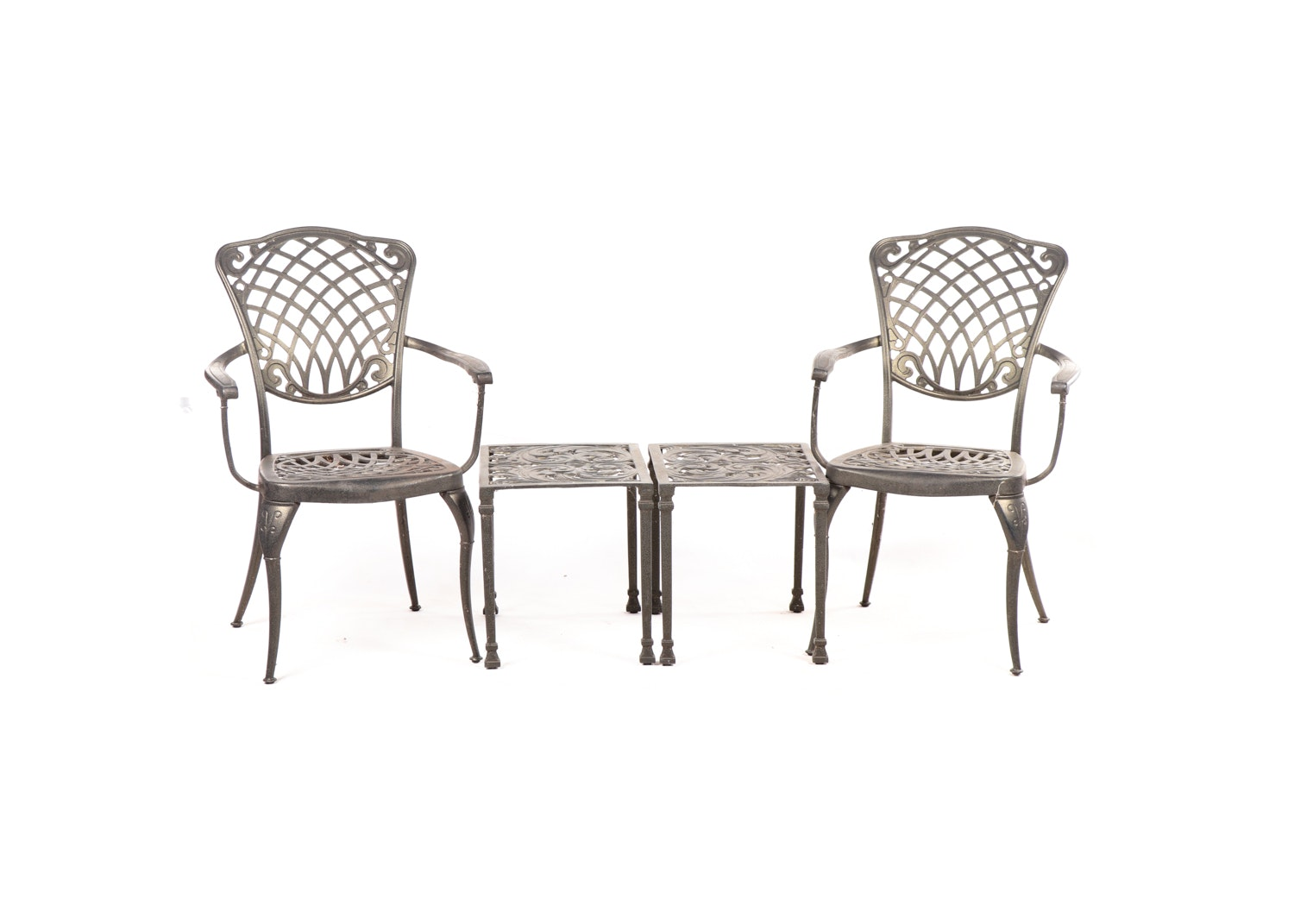 Contemporary Cast Metal Patio Chairs and Tables Set