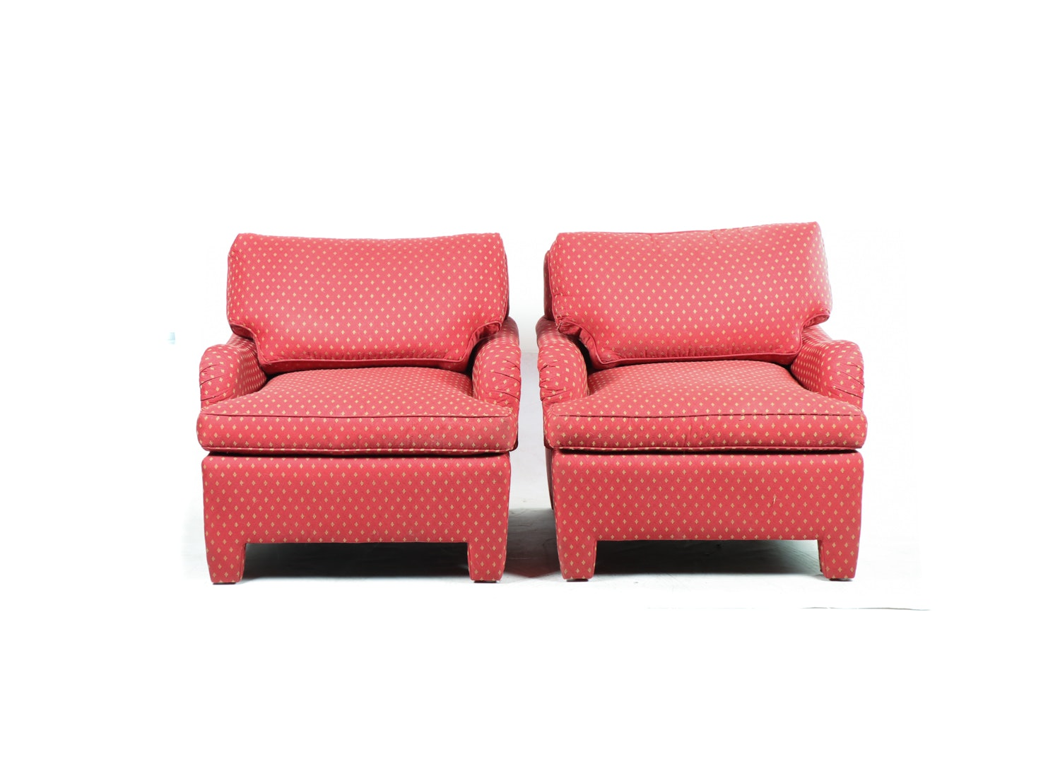 Contemporary Pair of Red Upholstered Armchairs