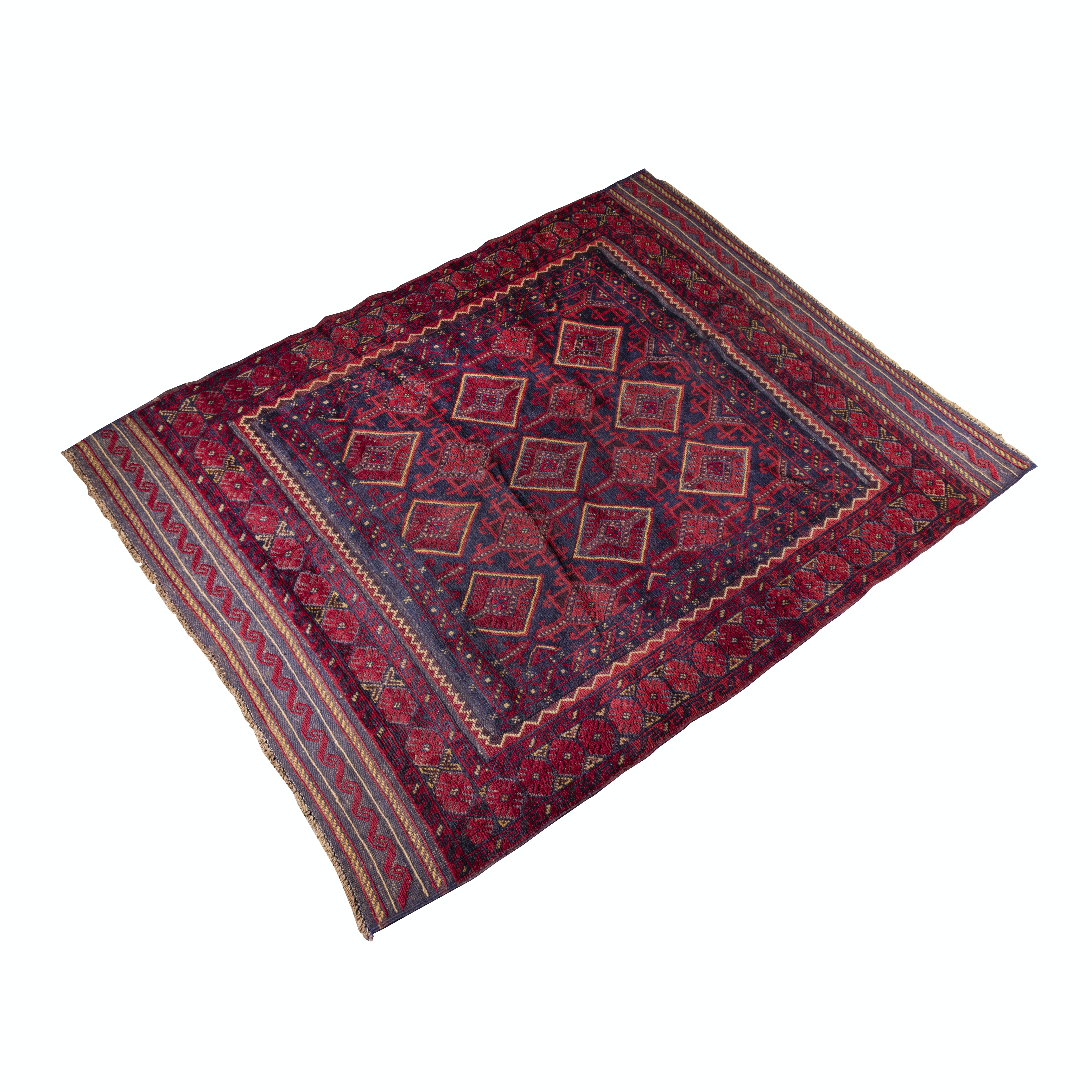 Hand-Knotted and Embroidered Baluch Mashwani Wool Rug