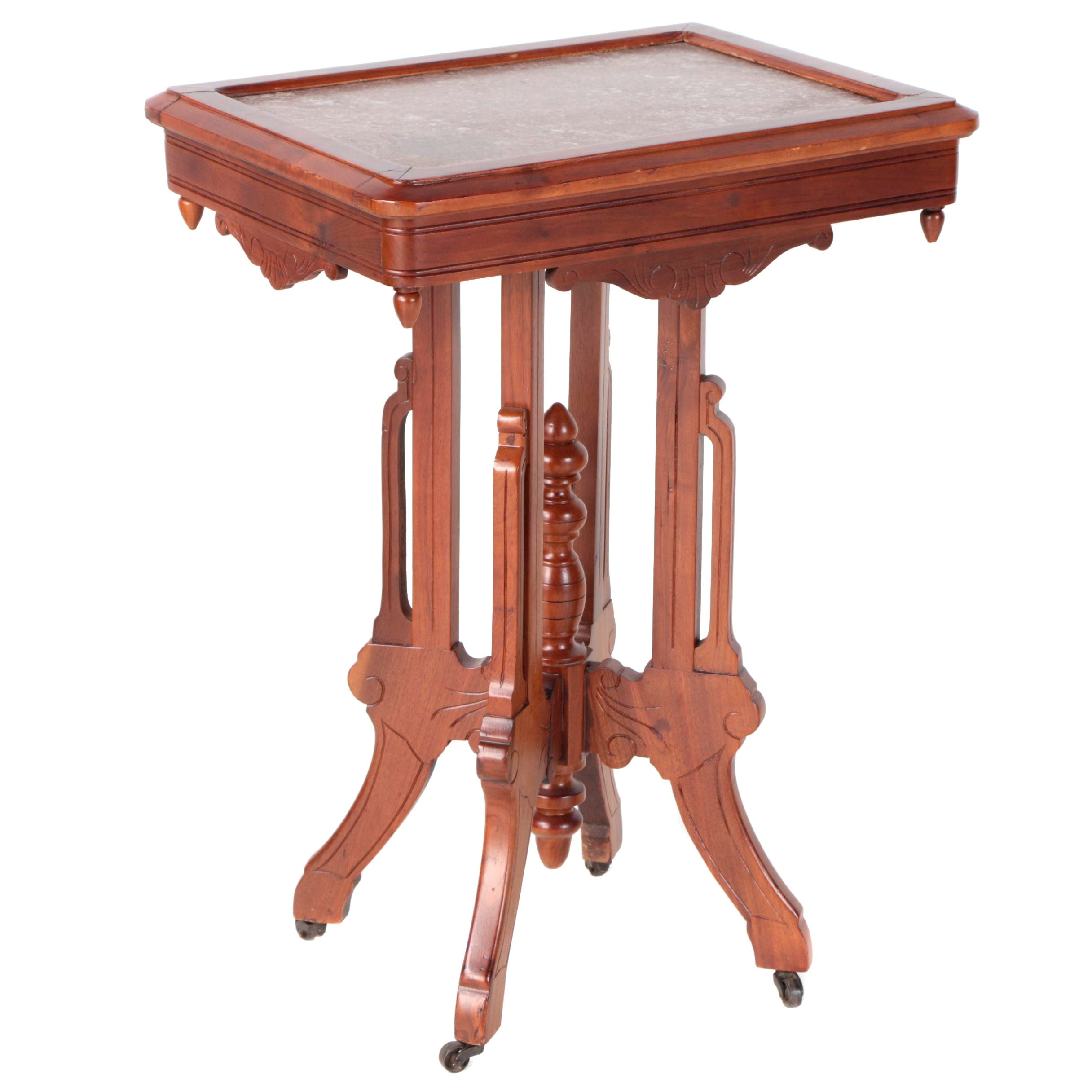 Victorian Walnut and Red Marble Lamp Table, Late 19th Century
