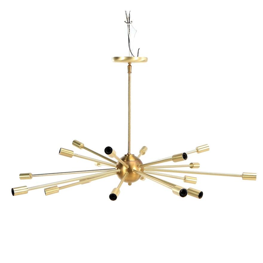 Mid Century Modern Style Sputnik Gold Finish Ceiling Light