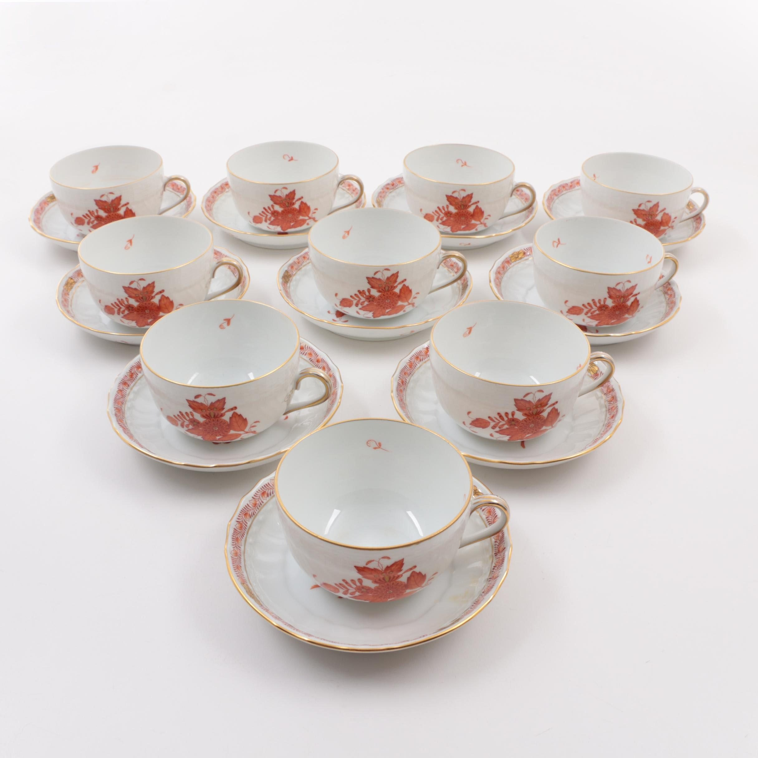 "Herend ""Chinese Bouquet"" Rust  Porcelain Flat Cups and Saucers"